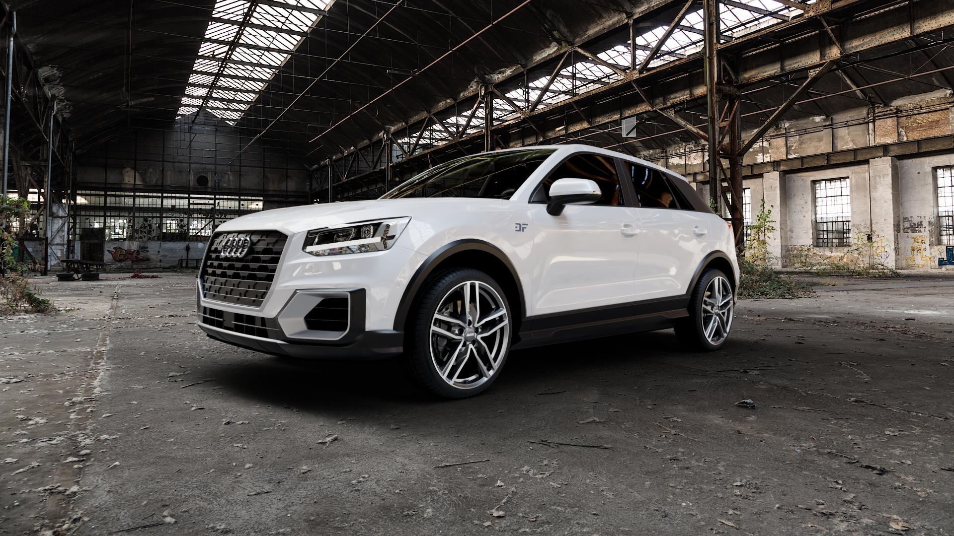 ALUTEC Ikenu graphit frontpoliert Felge mit Reifen grau mehrfarbig in 19Zoll Alufelge auf weissem Audi Q2 Typ GA ⬇️ mit 15mm Tieferlegung ⬇️ Industriehalle 1 Camera_000