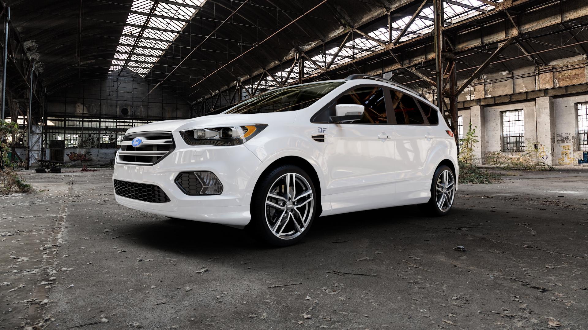 ALUTEC Ikenu graphit frontpoliert Felge mit Reifen grau mehrfarbig in 19Zoll Alufelge auf weissem Ford Kuga II Facelift (15->) (17->) ⬇️ mit 15mm Tieferlegung ⬇️ Industriehalle 1 Camera_000