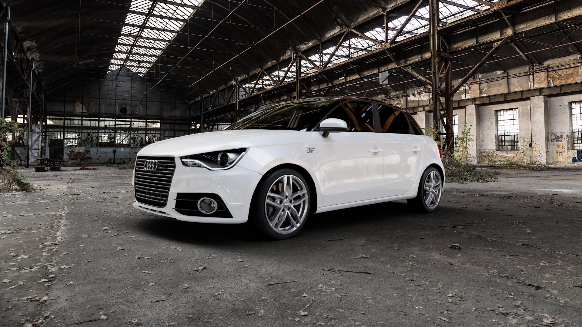 ALUTEC Ikenu metal-grey Felge mit Reifen grau in 17Zoll Winterfelge Alufelge auf weissem Audi A1 Typ 8X (Sportback) ⬇️ mit 15mm Tieferlegung ⬇️ Industriehalle 1 Camera_000