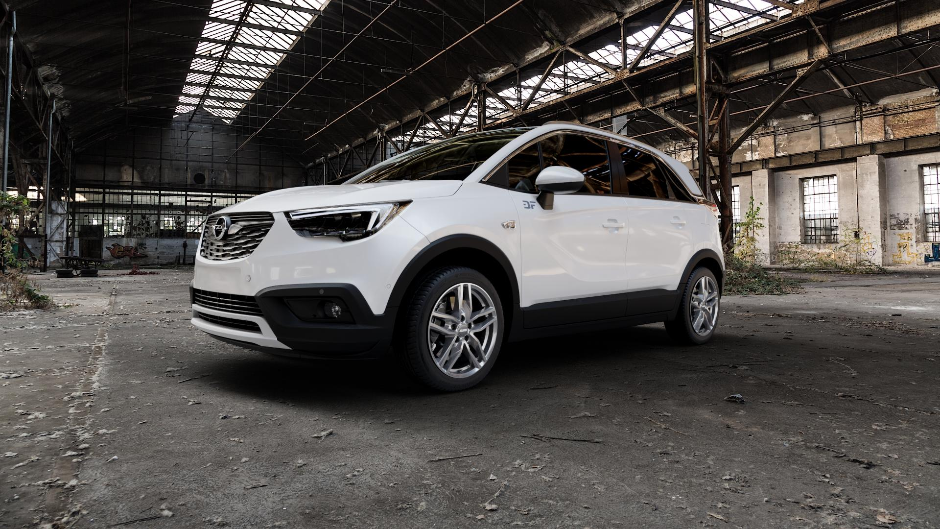 ALUTEC Ikenu metal-grey Felge mit Reifen grau in 17Zoll Winterfelge Alufelge auf weissem Opel Crossland X ⬇️ mit 15mm Tieferlegung ⬇️ Industriehalle 1 Camera_000