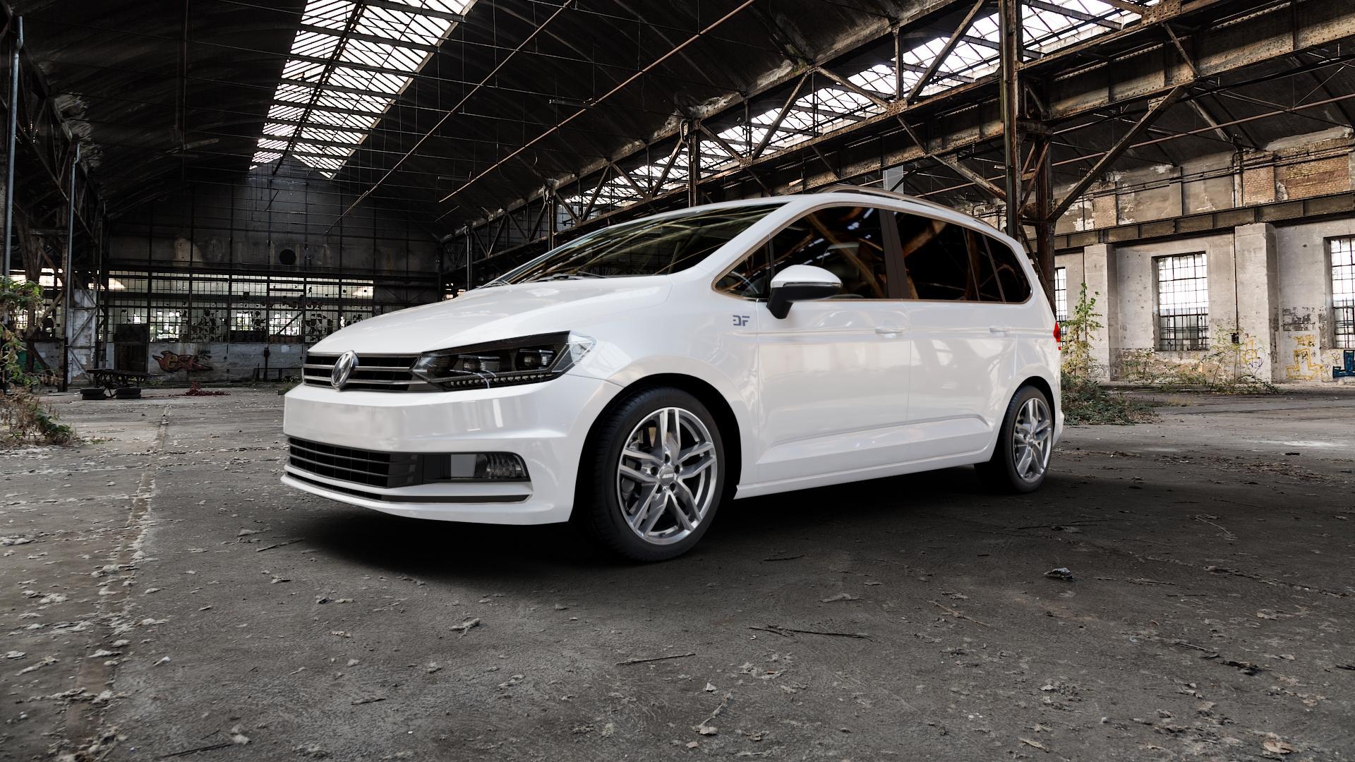 ALUTEC Ikenu metal-grey Felge mit Reifen grau in 17Zoll Winterfelge Alufelge auf weissem Volkswagen (VW) Touran III Typ 1T (15->) ⬇️ mit 15mm Tieferlegung ⬇️ Industriehalle 1 Camera_000