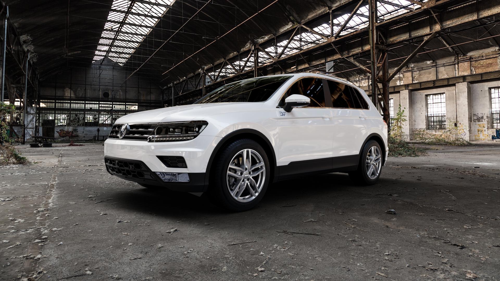 ALUTEC Ikenu metal-grey Felge mit Reifen grau in 18Zoll Winterfelge Alufelge auf weissem Volkswagen (VW) Tiguan II Typ 5N ⬇️ mit 15mm Tieferlegung ⬇️ Industriehalle 1 Camera_000