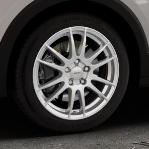 ALUTEC Monstr polar-silber Felge mit Reifen in 17Zoll Winterfelge Alufelge auf silbernem Volkswagen (VW) T-Cross ⬇️ mit 15mm Tieferlegung ⬇️ Industriehalle 1 Thumbnail