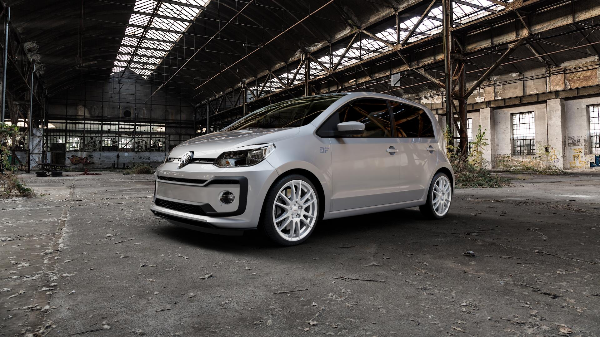 ALUTEC Monstr polar-silber Felge mit Reifen in 17Zoll Winterfelge Alufelge auf silbernem Volkswagen (VW) UP Facelift 1,0l 44kW (60 PS) 55kW (75 eco-Up 50kW (68 TSI 66kW (90 85kW GTi (116 ⬇️ mit 15mm Tieferlegung ⬇️ Industriehalle 1 Camera_000