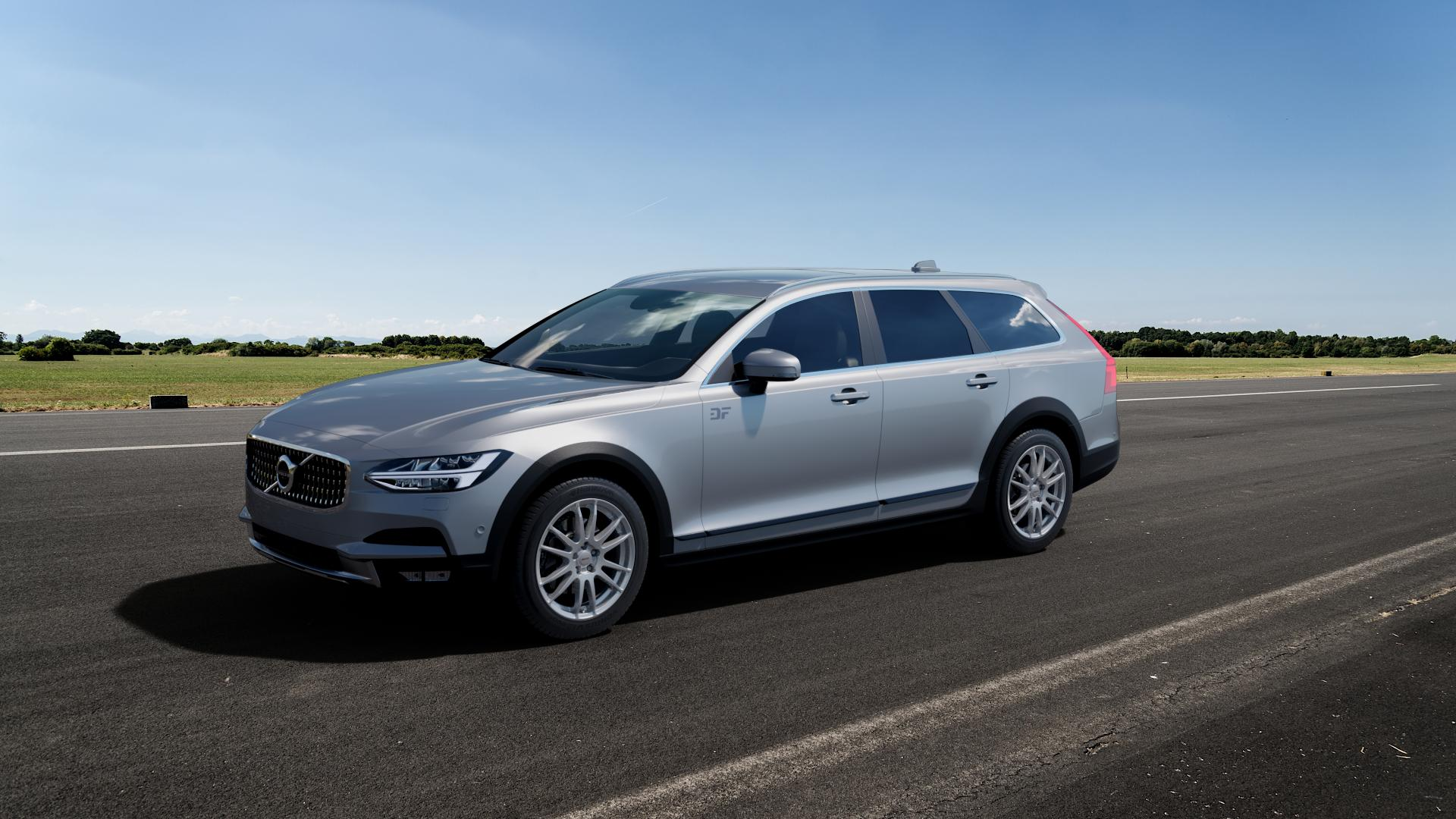 ALUTEC Monstr polar-silber Felge mit Reifen in 18Zoll Winterfelge Alufelge auf silbernem Volvo V90 II Cross Country Typ P ⬇️ mit 15mm Tieferlegung ⬇️ Big_Vehicle_Airstrip_1 Frontansicht_1
