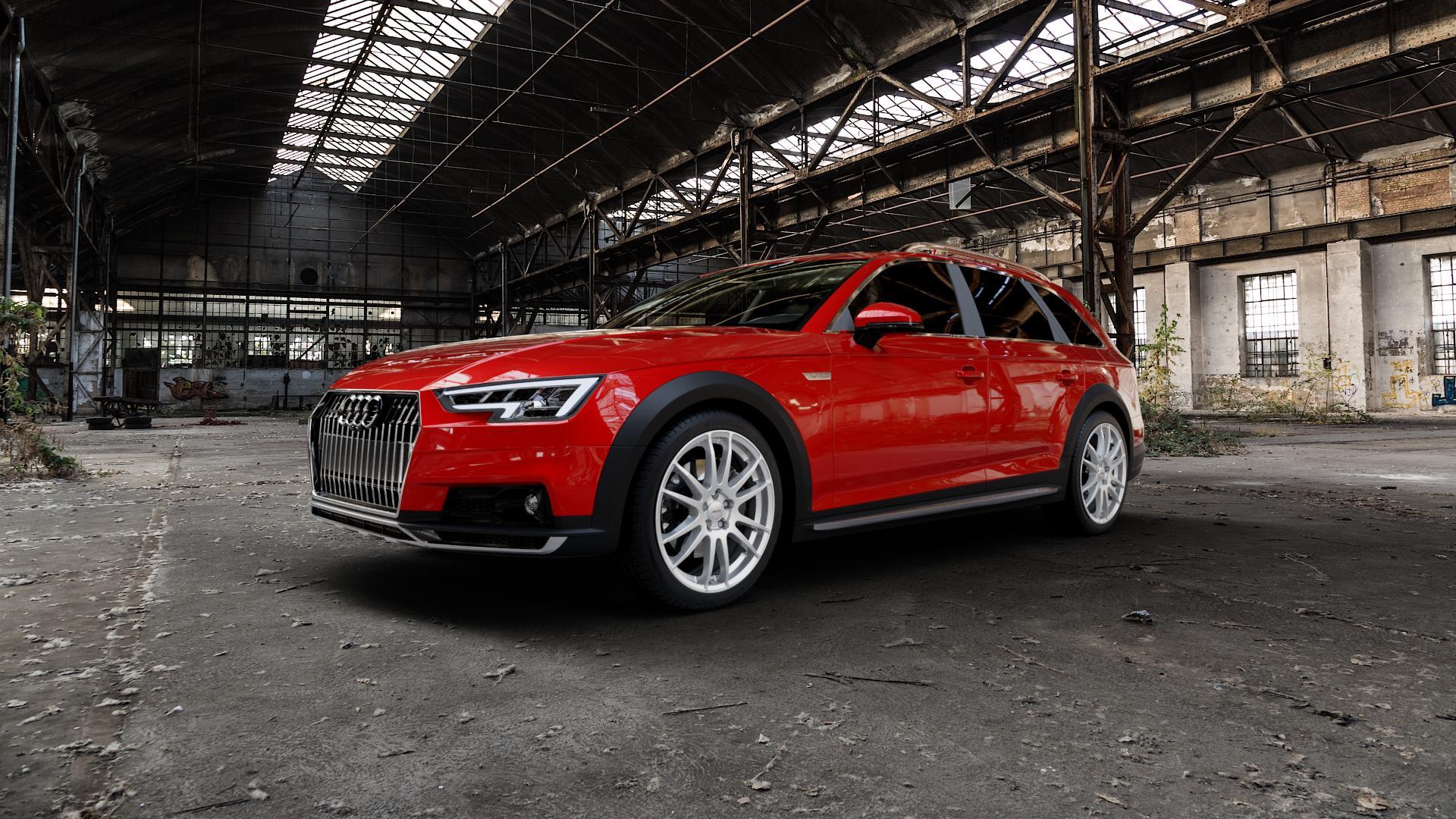 ALUTEC Monstr polar-silber Felge mit Reifen in 19Zoll Winterfelge Alufelge auf rotem Audi A4 Typ B9 Allroad ⬇️ mit 15mm Tieferlegung ⬇️ Industriehalle 1 Camera_000
