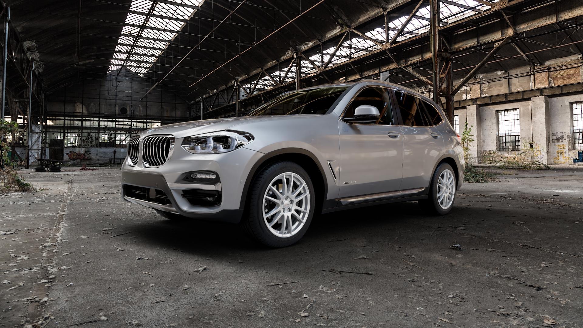 ALUTEC Monstr polar-silber Felge mit Reifen in 19Zoll Winterfelge Alufelge auf silbernem BMW X3 Typ G01 (G3X) ⬇️ mit 15mm Tieferlegung ⬇️ Industriehalle 1 Camera_000