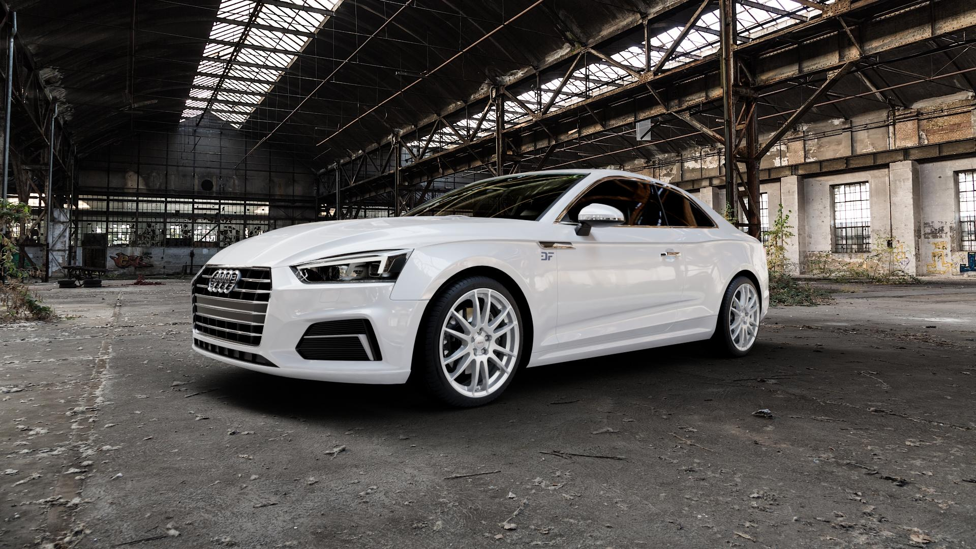 ALUTEC Monstr polar-silber Felge mit Reifen in 19Zoll Winterfelge Alufelge auf weissem Audi A5 Typ B9 (Coupé) (Cabriolet) ⬇️ mit 15mm Tieferlegung ⬇️ Industriehalle 1 Camera_000