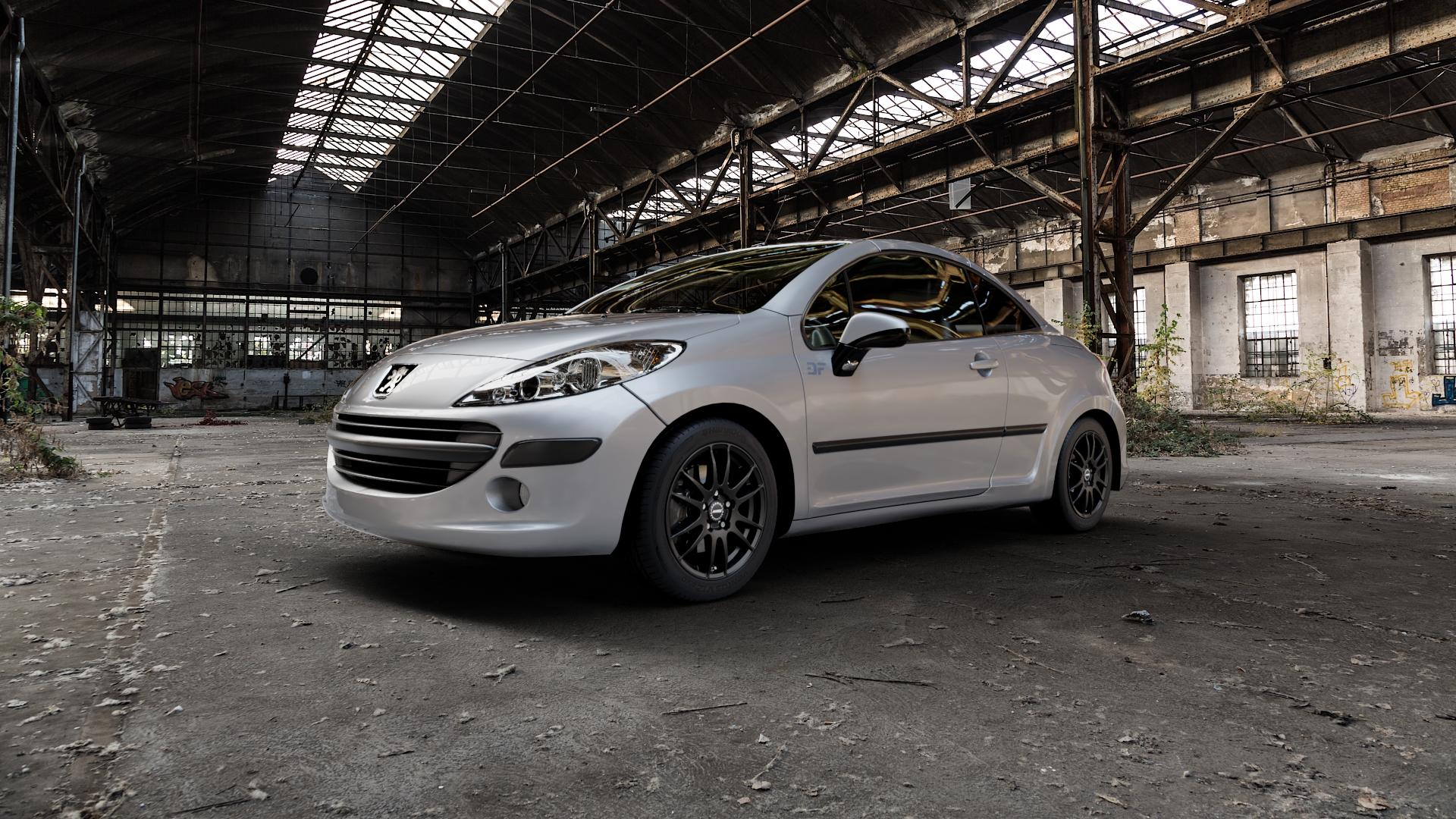ALUTEC Monstr racing-schwarz Felge mit Reifen in 16Zoll Winterfelge Alufelge auf silbernem Peugeot 207 CC ⬇️ mit 15mm Tieferlegung ⬇️ Industriehalle 1 Camera_000