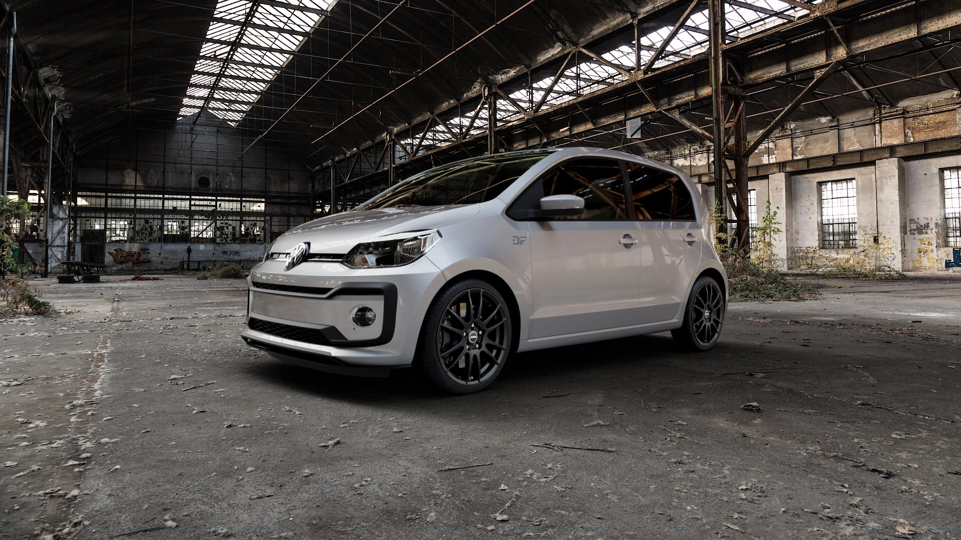ALUTEC Monstr racing-schwarz Felge mit Reifen in 17Zoll Winterfelge Alufelge auf silbernem Volkswagen (VW) UP Facelift 1,0l 44kW (60 PS) 55kW (75 eco-Up 50kW (68 TSI 66kW (90 85kW GTi (116 ⬇️ mit 15mm Tieferlegung ⬇️ Industriehalle 1 Camera_000