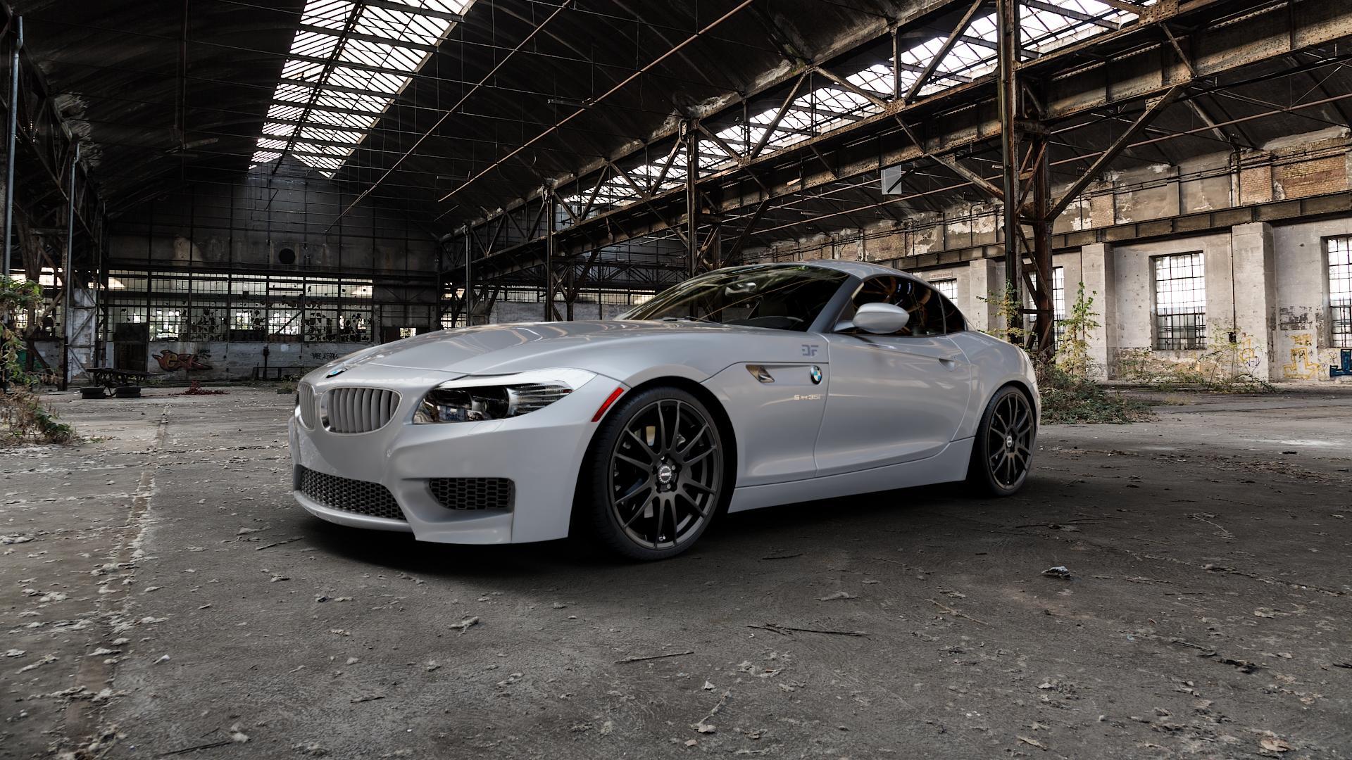 ALUTEC Monstr racing-schwarz Felge mit Reifen in 19Zoll Winterfelge Alufelge auf silbernem BMW Z4 Roadster Typ E89 (Z89, ZR) ⬇️ mit 15mm Tieferlegung ⬇️ Industriehalle 1 Camera_000