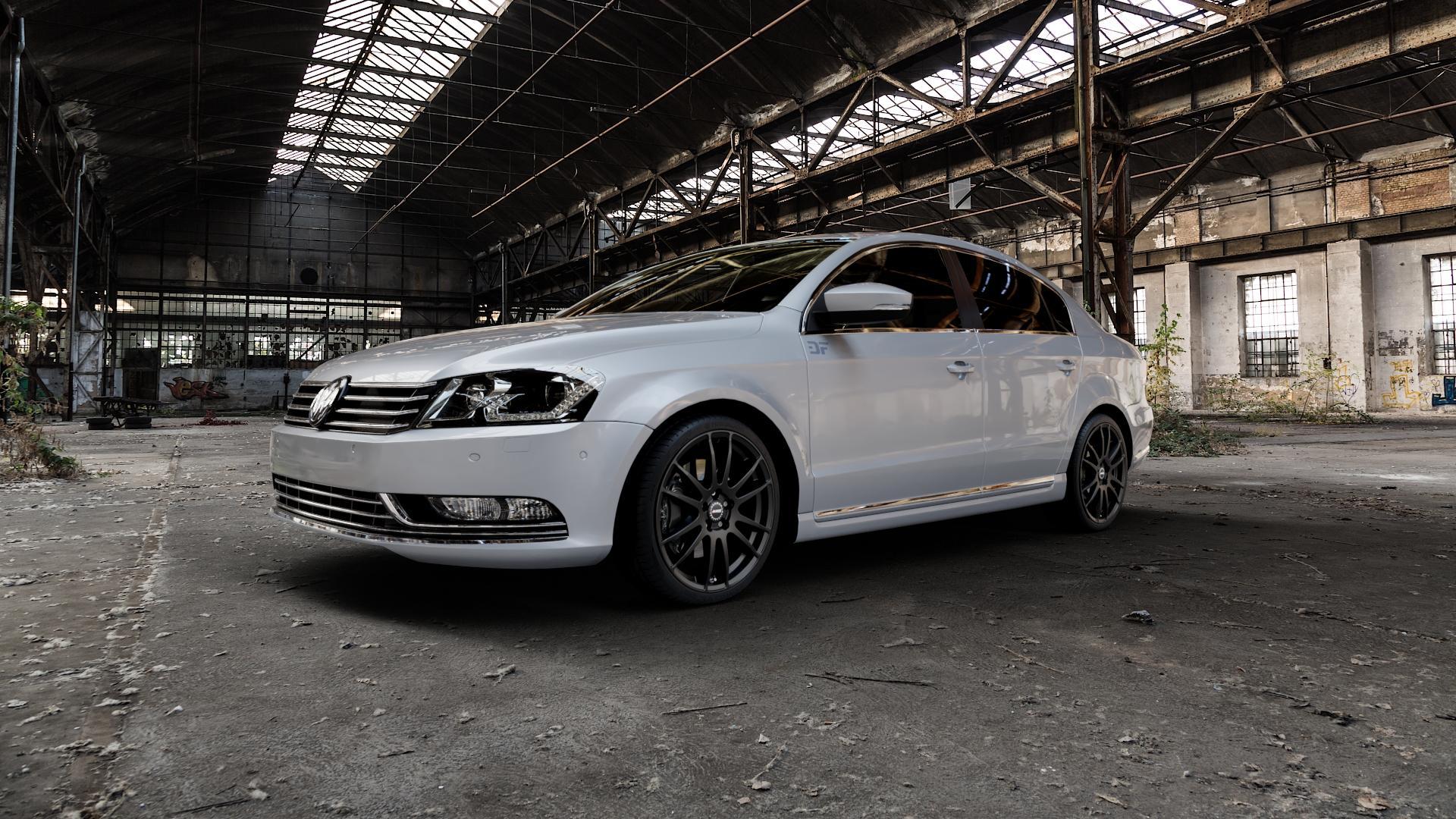 ALUTEC Monstr racing-schwarz Felge mit Reifen in 19Zoll Winterfelge Alufelge auf silbernem Volkswagen (VW) Passat 3C/B7 Limousine ⬇️ mit 15mm Tieferlegung ⬇️ Industriehalle 1 Camera_000