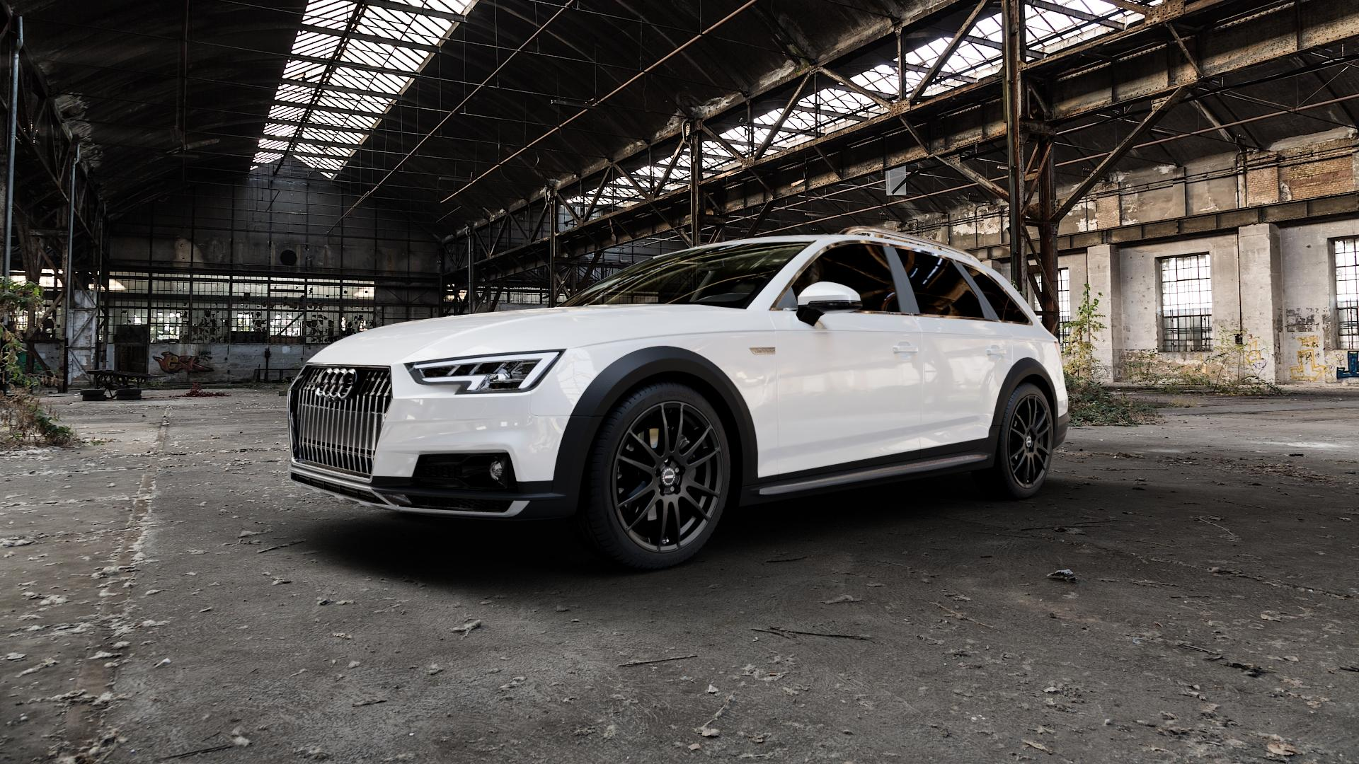 ALUTEC Monstr racing-schwarz Felge mit Reifen in 19Zoll Winterfelge Alufelge auf weissem Audi A4 Typ B9 Allroad ⬇️ mit 15mm Tieferlegung ⬇️ Industriehalle 1 Camera_000