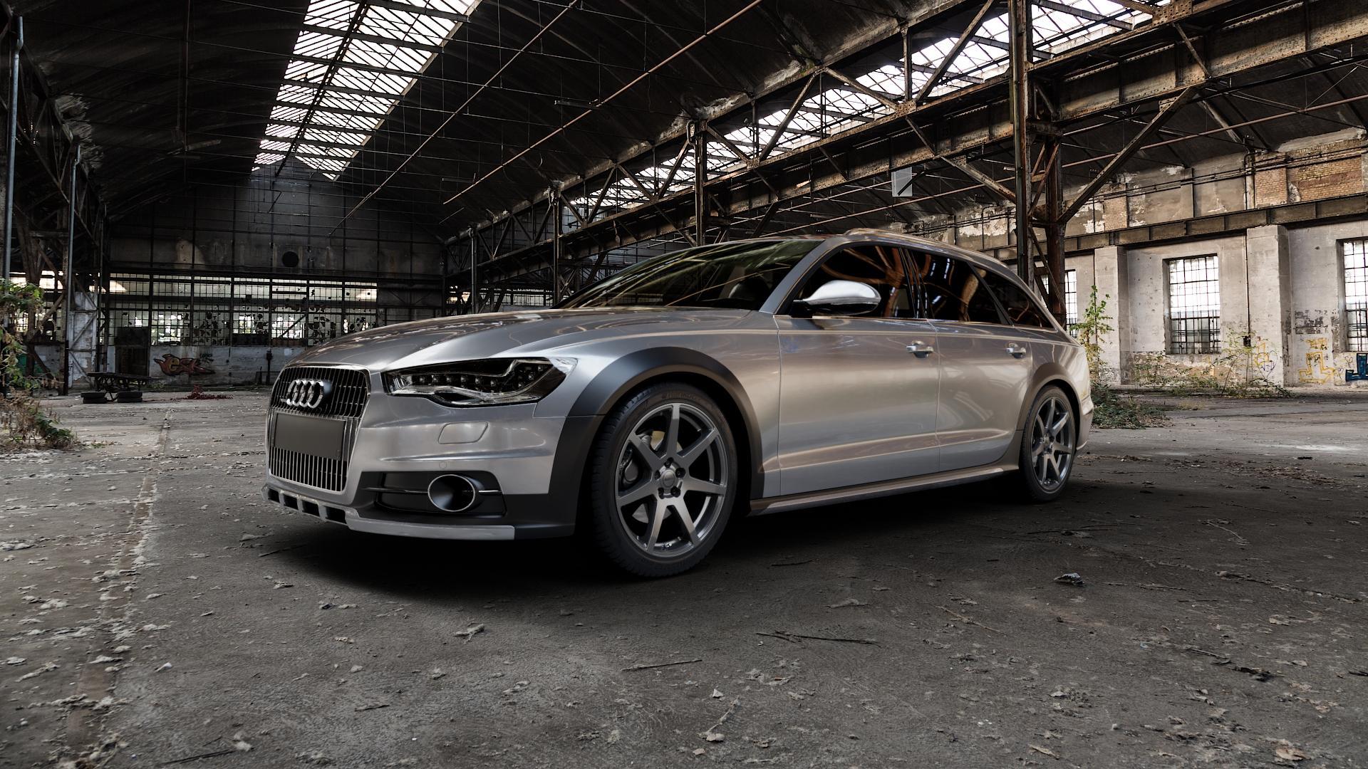 ALUTEC Pearl carbon-grau Felge mit Reifen in 19Zoll Winterfelge Alufelge auf silbernem Audi A6 Allroad Quattro Typ 4G/C7 ⬇️ mit 15mm Tieferlegung ⬇️ Industriehalle 1 Camera_000
