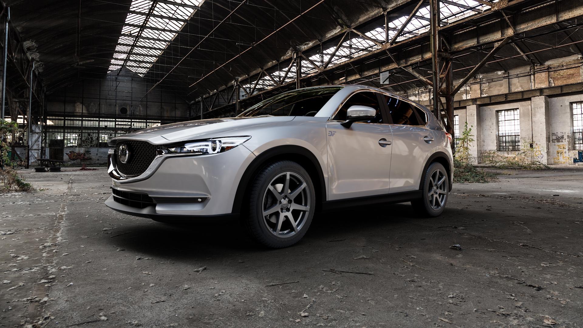 ALUTEC Pearl carbon-grau Felge mit Reifen in 19Zoll Winterfelge Alufelge auf silbernem Mazda CX-5 Typ KF ⬇️ mit 15mm Tieferlegung ⬇️ Industriehalle 1 Camera_000