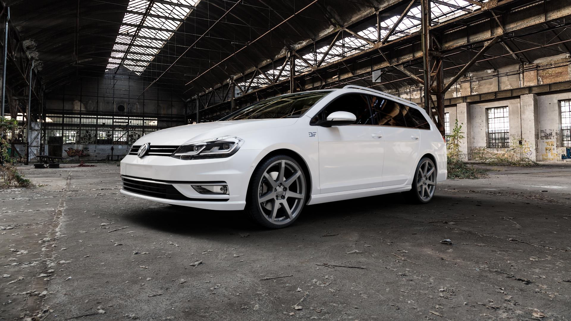 ALUTEC Pearl carbon-grau Felge mit Reifen in 19Zoll Winterfelge Alufelge auf weissem Volkswagen (VW) Golf 7 Variant Facelift ⬇️ mit 15mm Tieferlegung ⬇️ Industriehalle 1 Camera_000