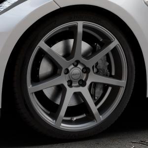 ALUTEC Pearl carbon-grau Felge mit Reifen in 20Zoll Winterfelge Alufelge auf silbernem Tesla Model S Typ 002 ⬇️ mit 15mm Tieferlegung ⬇️ Industriehalle 1 Thumbnail