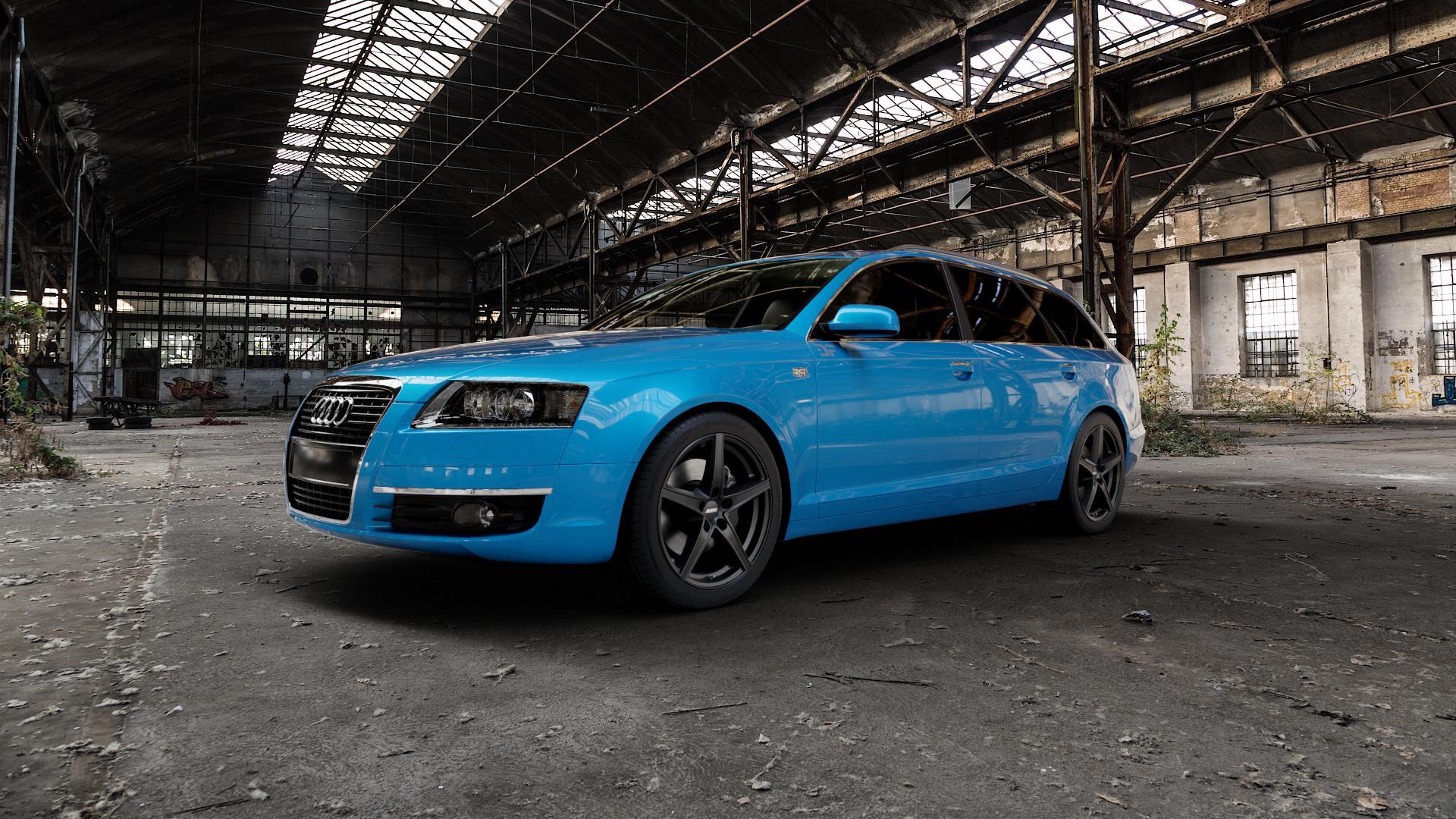 ALUTEC Raptr racing-schwarz Felge mit Reifen in 18Zoll Winterfelge Alufelge auf hellblau Audi A6 Typ 4F/C6 (Avant) ⬇️ mit 15mm Tieferlegung ⬇️ Industriehalle 1 Camera_000