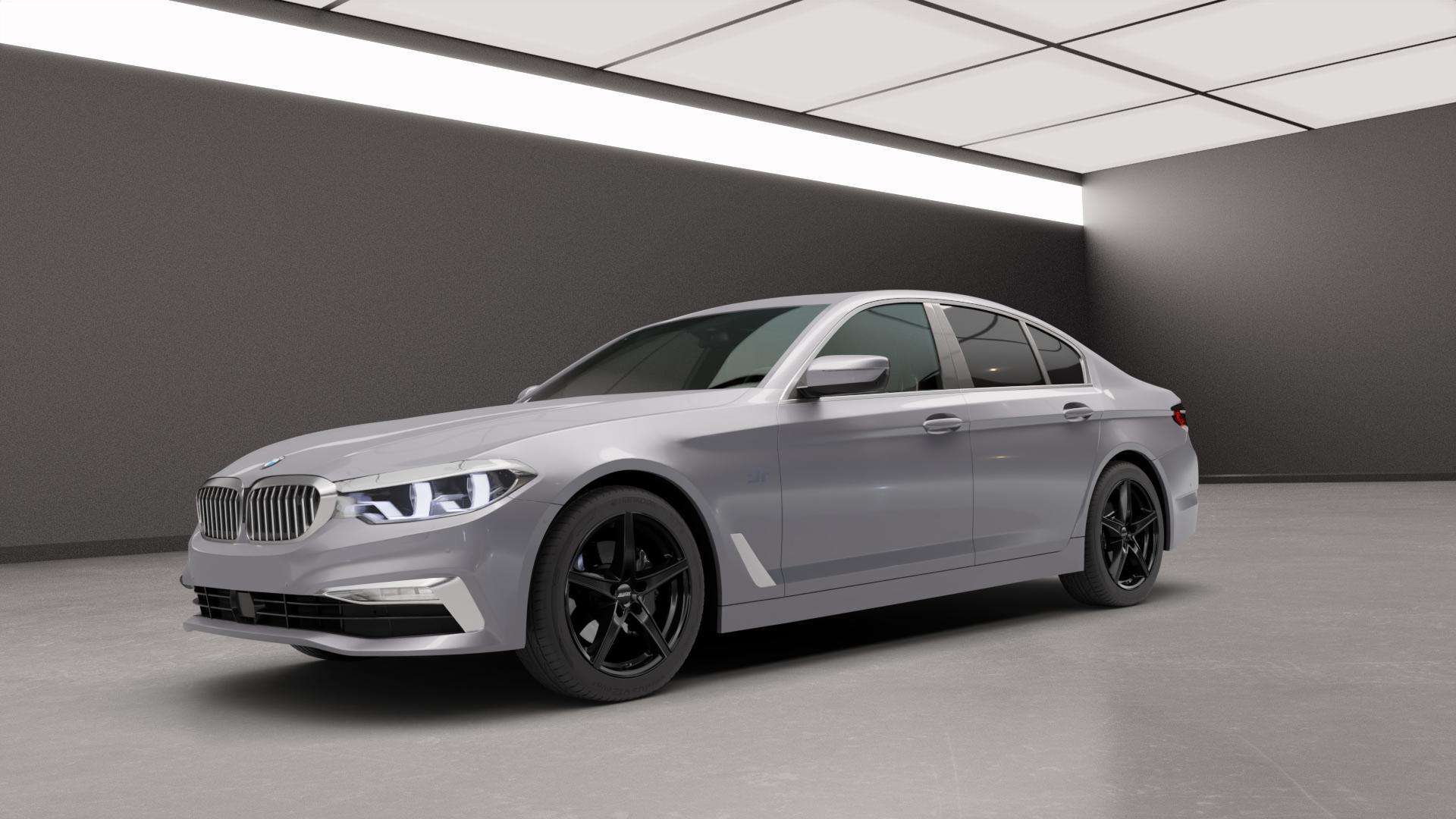 ALUTEC Raptr racing-schwarz Felge mit Reifen in 18Zoll Winterfelge Alufelge auf silbernem BMW 5er G30 Limousine (G5L) ⬇️ mit 15mm Tieferlegung ⬇️ Neutral_mid_max5300mm Frontansicht_1