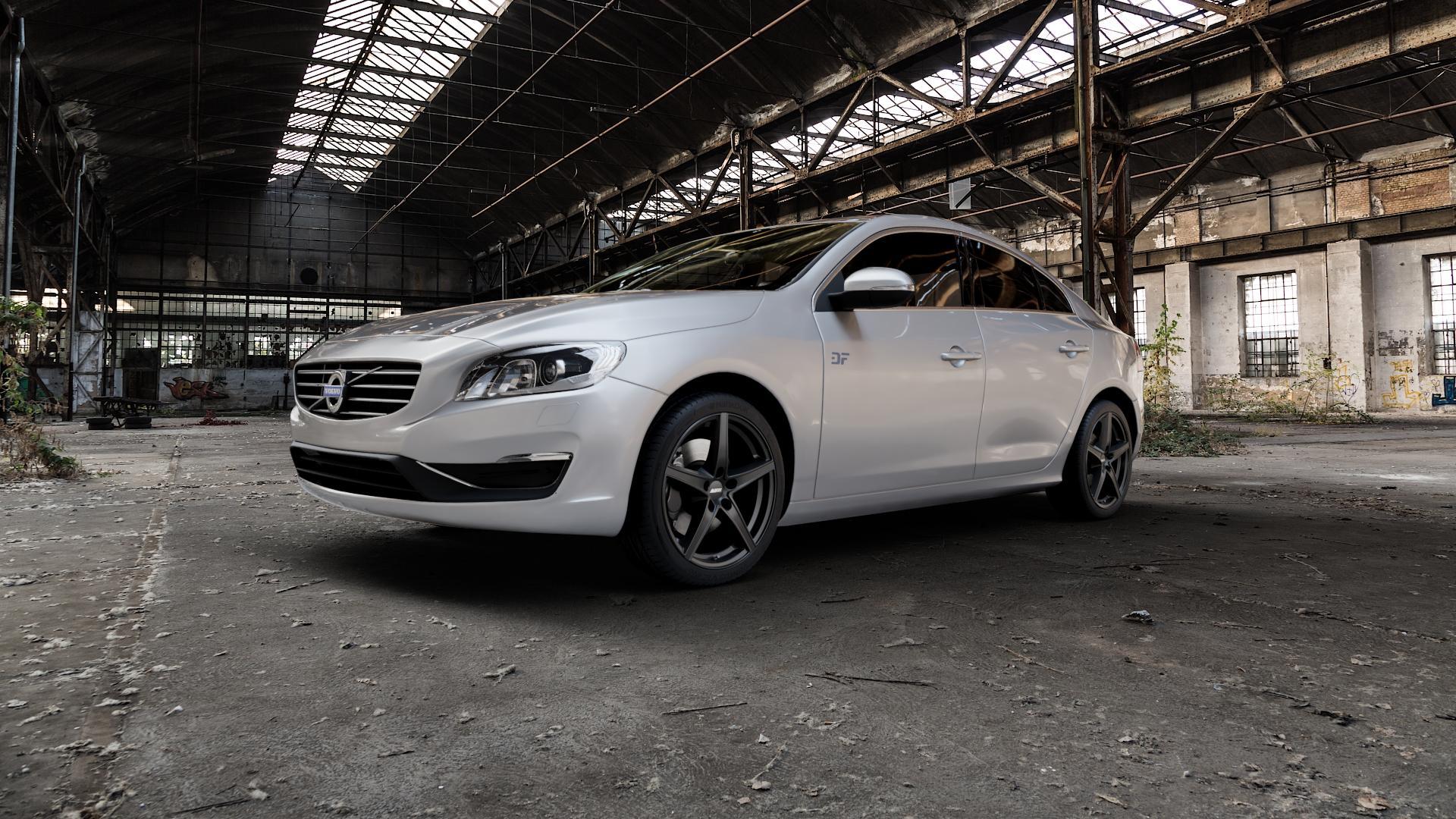 ALUTEC Raptr racing-schwarz Felge mit Reifen in 18Zoll Winterfelge Alufelge auf silbernem Volvo S60 II Typ F ⬇️ mit 15mm Tieferlegung ⬇️ Industriehalle 1 Camera_000