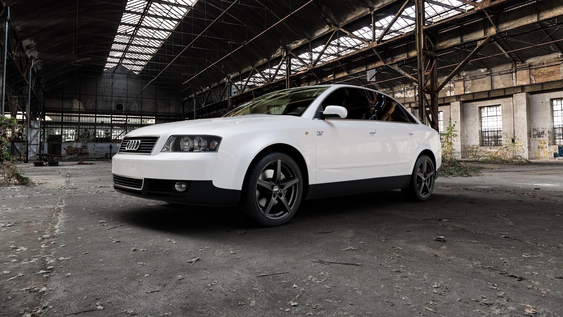ALUTEC Raptr racing-schwarz Felge mit Reifen in 18Zoll Winterfelge Alufelge auf weissem Audi A4 Typ 8E2/B6 (Limousine) ⬇️ mit 15mm Tieferlegung ⬇️ Industriehalle 1 Camera_000
