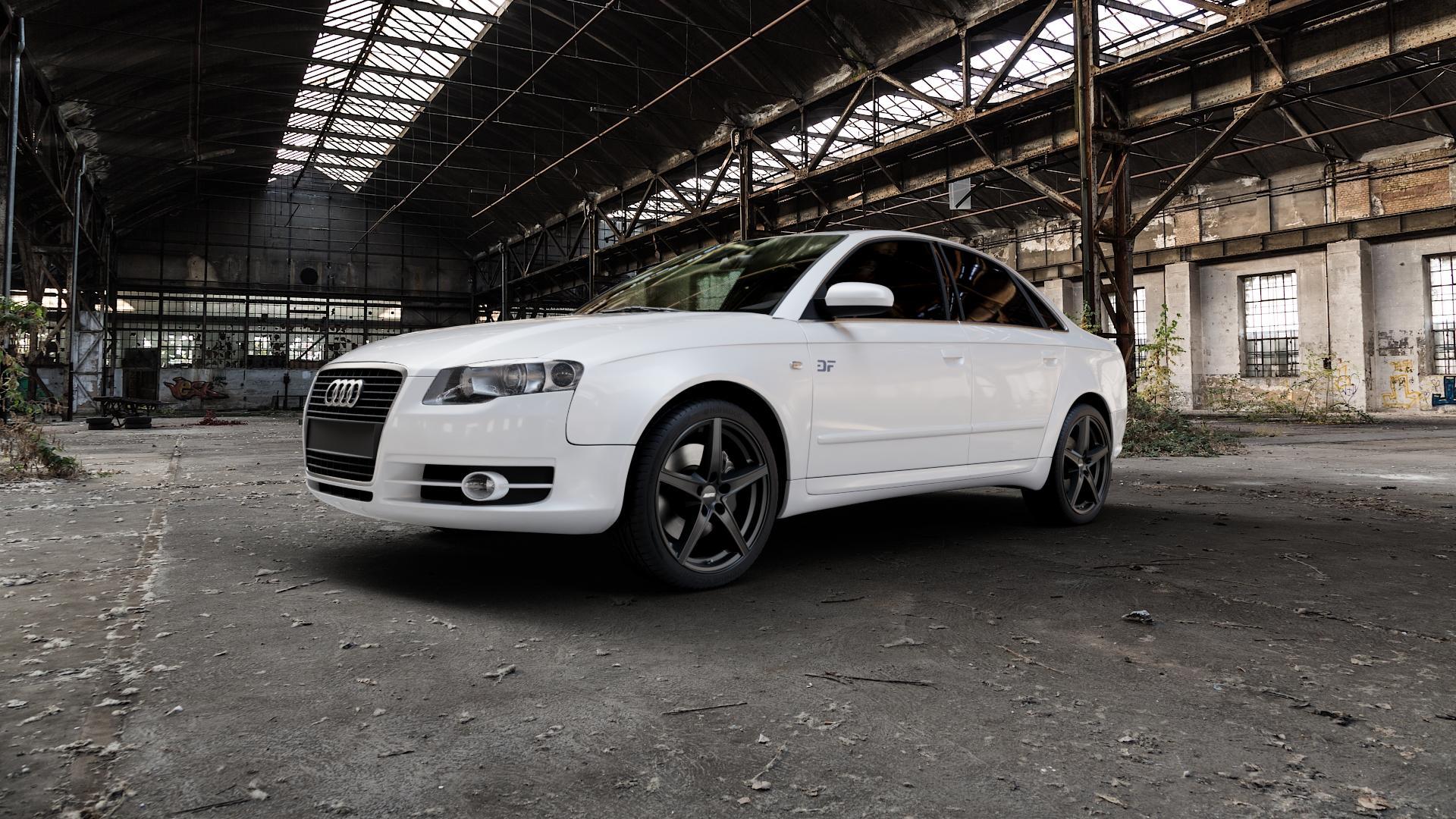 ALUTEC Raptr racing-schwarz Felge mit Reifen in 18Zoll Winterfelge Alufelge auf weissem Audi A4 Typ 8EC/B7 (Limousine) ⬇️ mit 15mm Tieferlegung ⬇️ Industriehalle 1 Camera_000