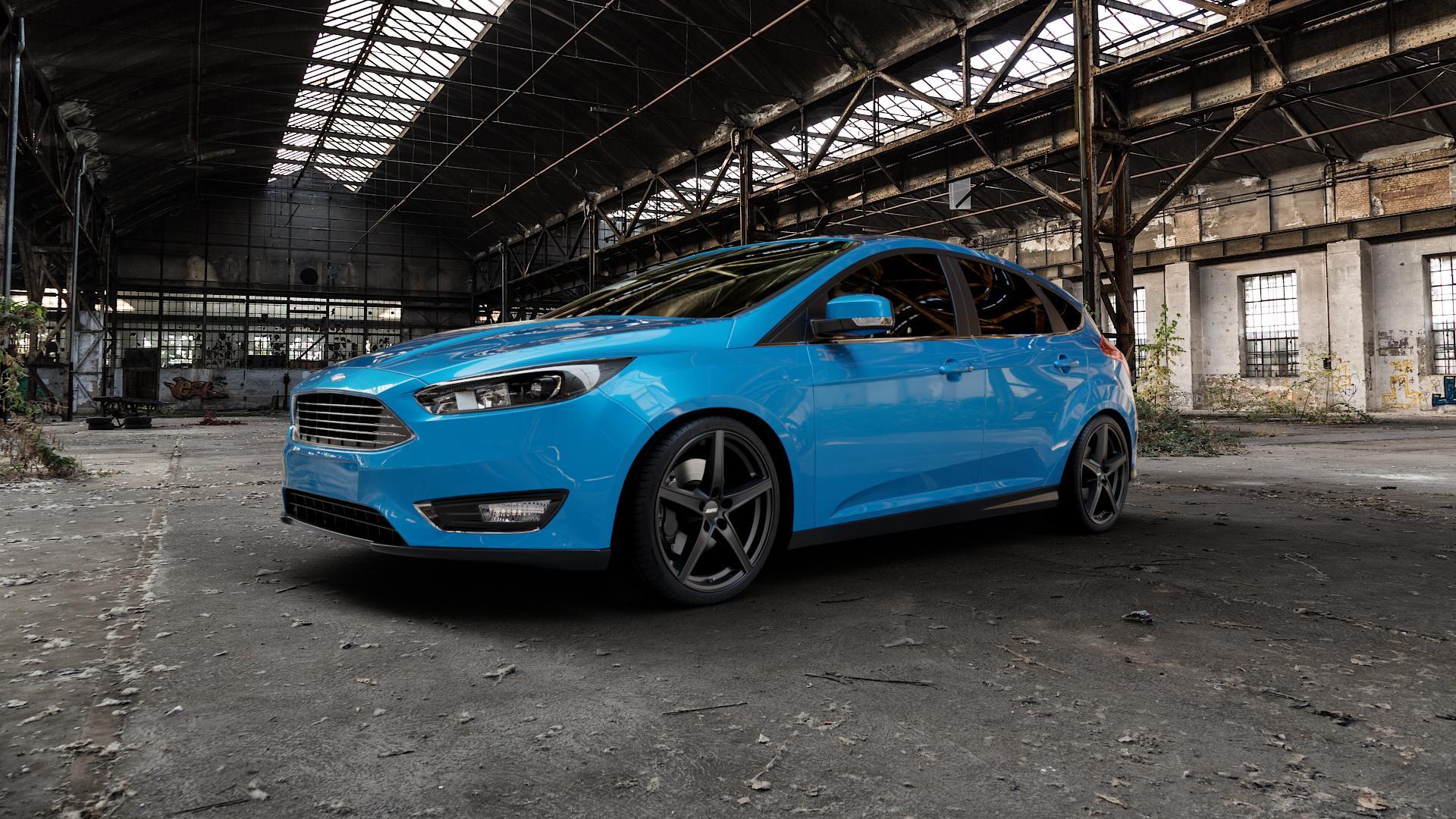 ALUTEC Raptr racing-schwarz Felge mit Reifen in 19Zoll Winterfelge Alufelge auf hellblau Ford Focus III Typ DYB Facelift (Schrägheck) ⬇️ mit 15mm Tieferlegung ⬇️ Industriehalle 1 Camera_000