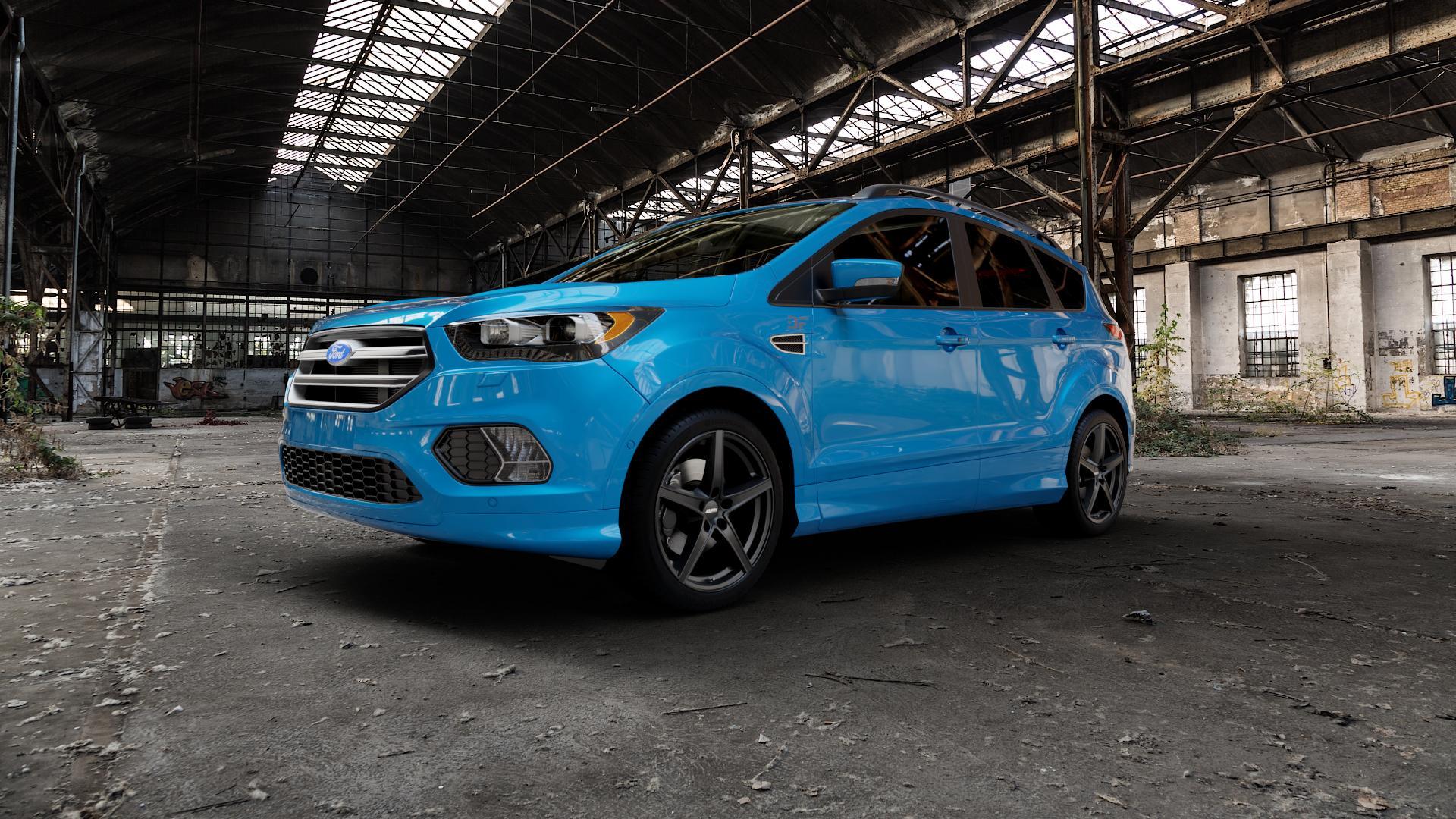 ALUTEC Raptr racing-schwarz Felge mit Reifen in 19Zoll Winterfelge Alufelge auf hellblau Ford Kuga II Facelift (15->) (17->) ⬇️ mit 15mm Tieferlegung ⬇️ Industriehalle 1 Camera_000
