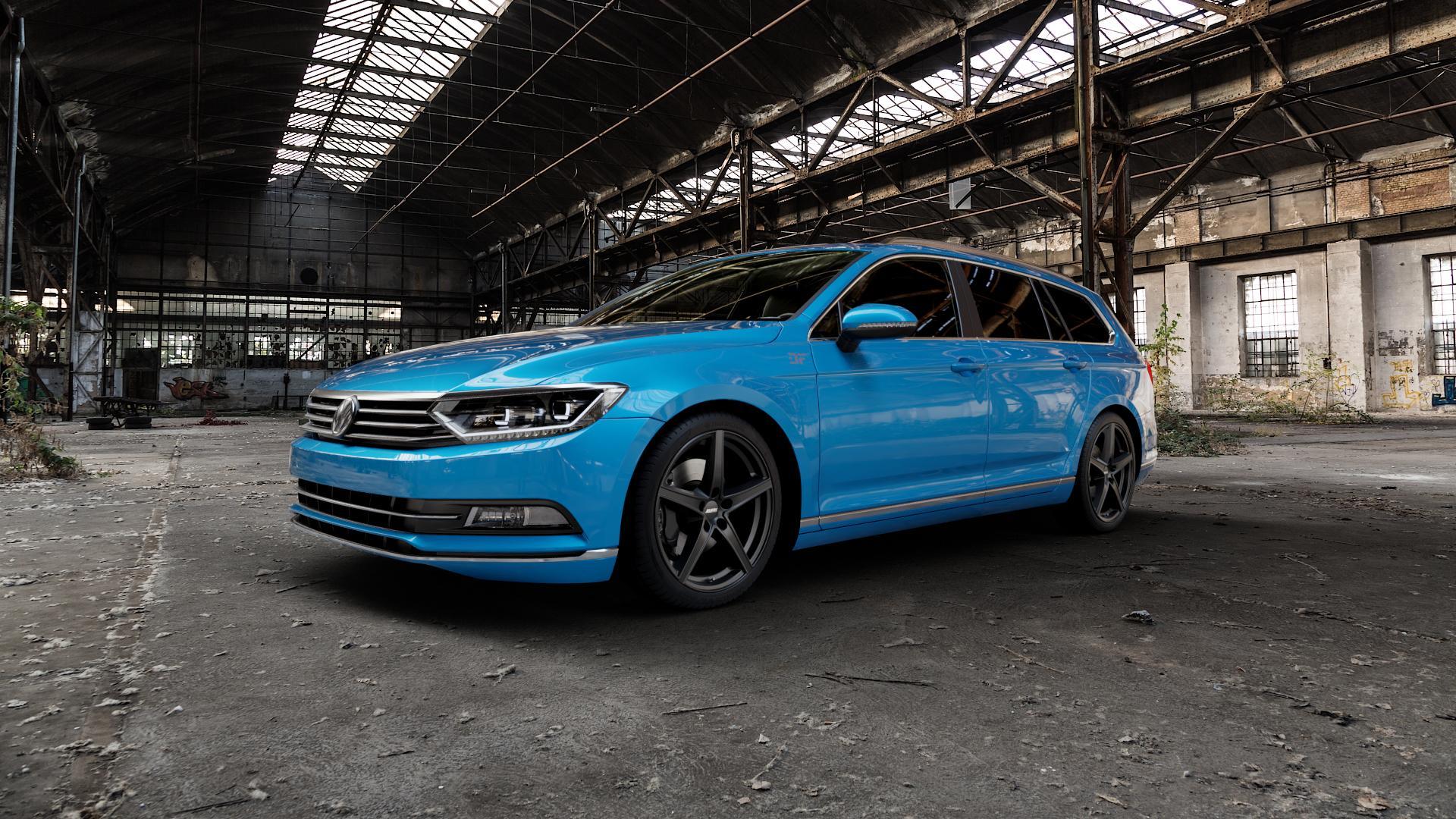 ALUTEC Raptr racing-schwarz Felge mit Reifen in 19Zoll Winterfelge Alufelge auf hellblau Volkswagen (VW) Passat 3C/B8 Limousine Variant ⬇️ mit 15mm Tieferlegung ⬇️ Industriehalle 1 Camera_000