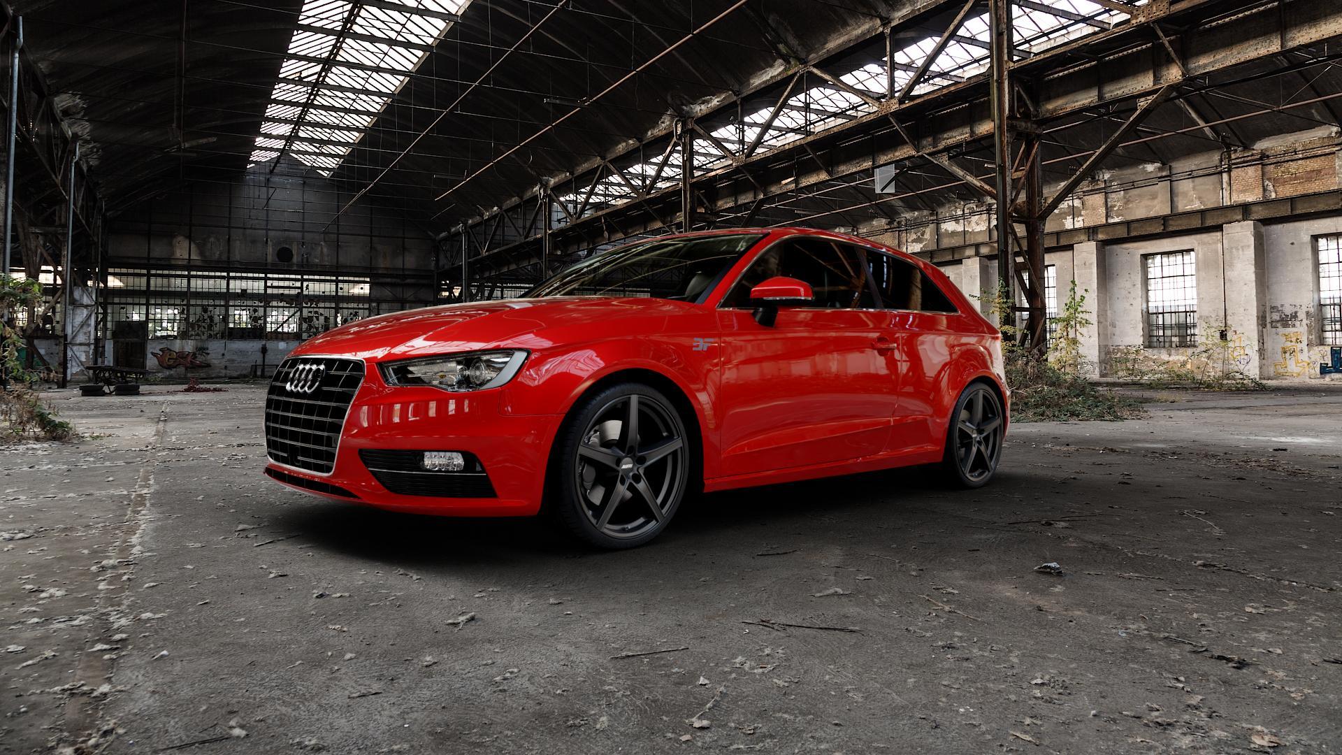 ALUTEC Raptr racing-schwarz Felge mit Reifen in 19Zoll Winterfelge Alufelge auf rotem Audi A3 Typ 8V ⬇️ mit 15mm Tieferlegung ⬇️ Industriehalle 1 Camera_000