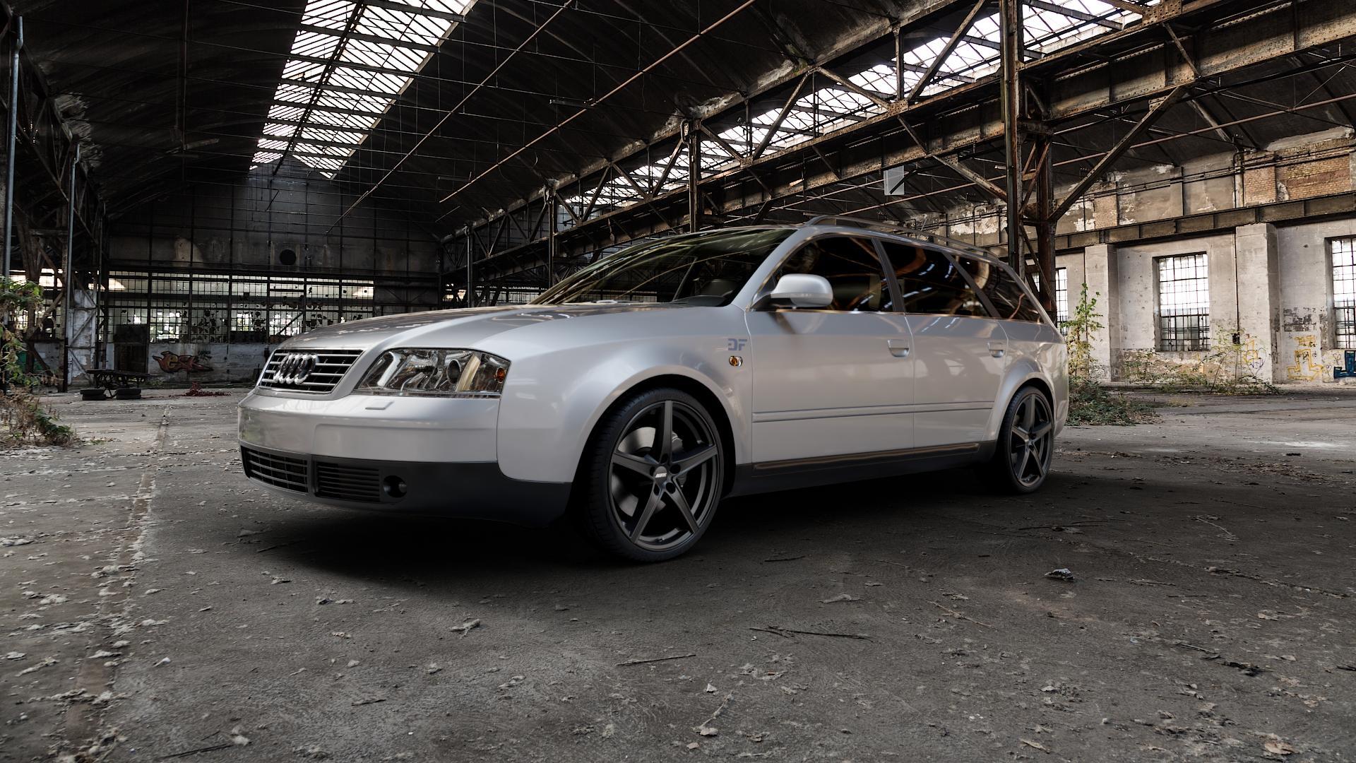 ALUTEC Raptr racing-schwarz Felge mit Reifen in 19Zoll Winterfelge Alufelge auf silbernem Audi A6 Typ 4B/C5 (Avant) ⬇️ mit 15mm Tieferlegung ⬇️ Industriehalle 1 Camera_000