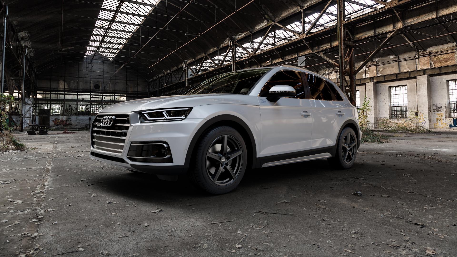 ALUTEC Raptr racing-schwarz Felge mit Reifen in 19Zoll Winterfelge Alufelge auf silbernem Audi Q5 II Typ FY ⬇️ mit 15mm Tieferlegung ⬇️ Industriehalle 1 Camera_000