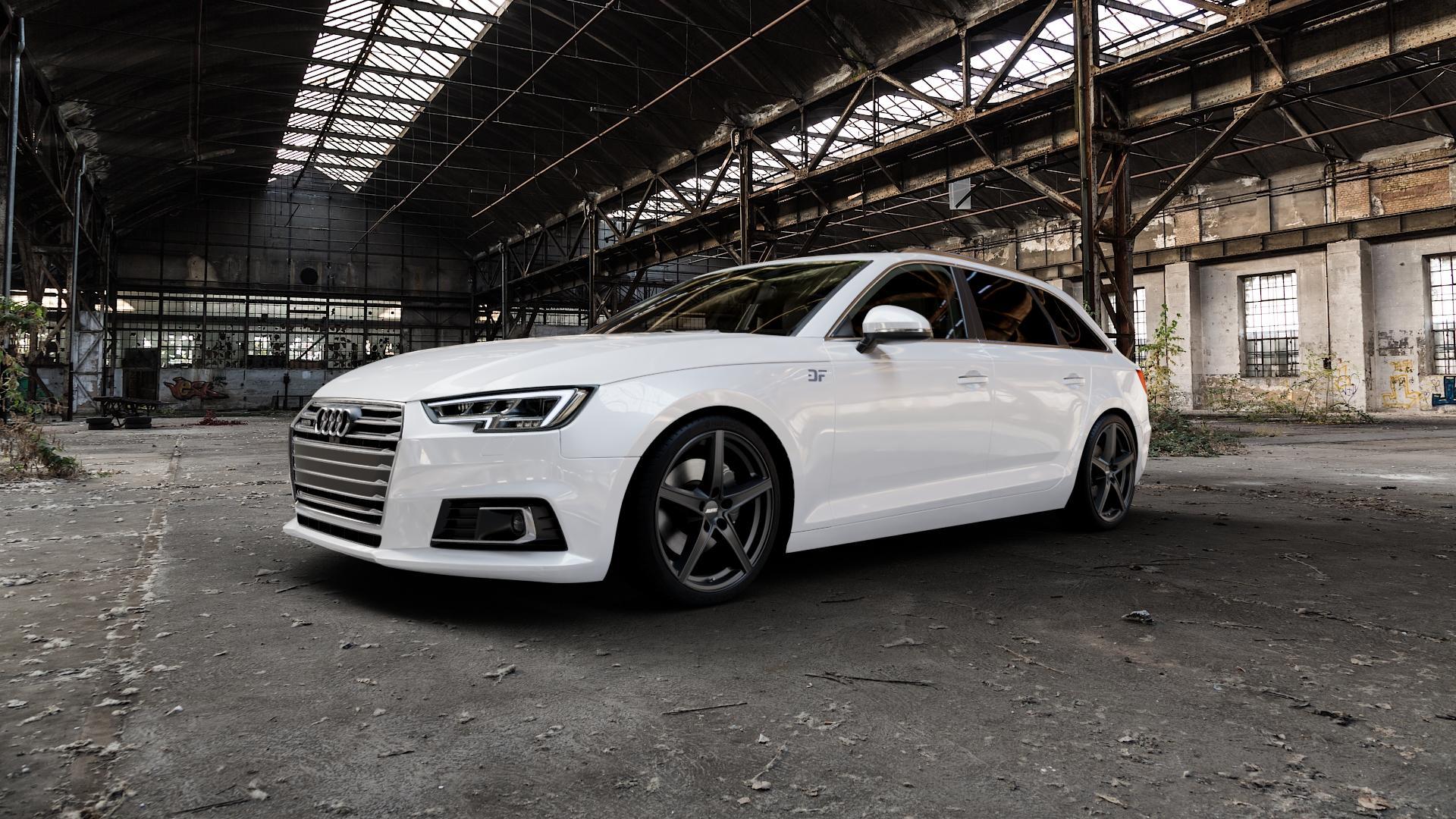 ALUTEC Raptr racing-schwarz Felge mit Reifen in 19Zoll Winterfelge Alufelge auf weissem Audi A4 Typ B9 (Avant) ⬇️ mit 15mm Tieferlegung ⬇️ Industriehalle 1 Camera_000