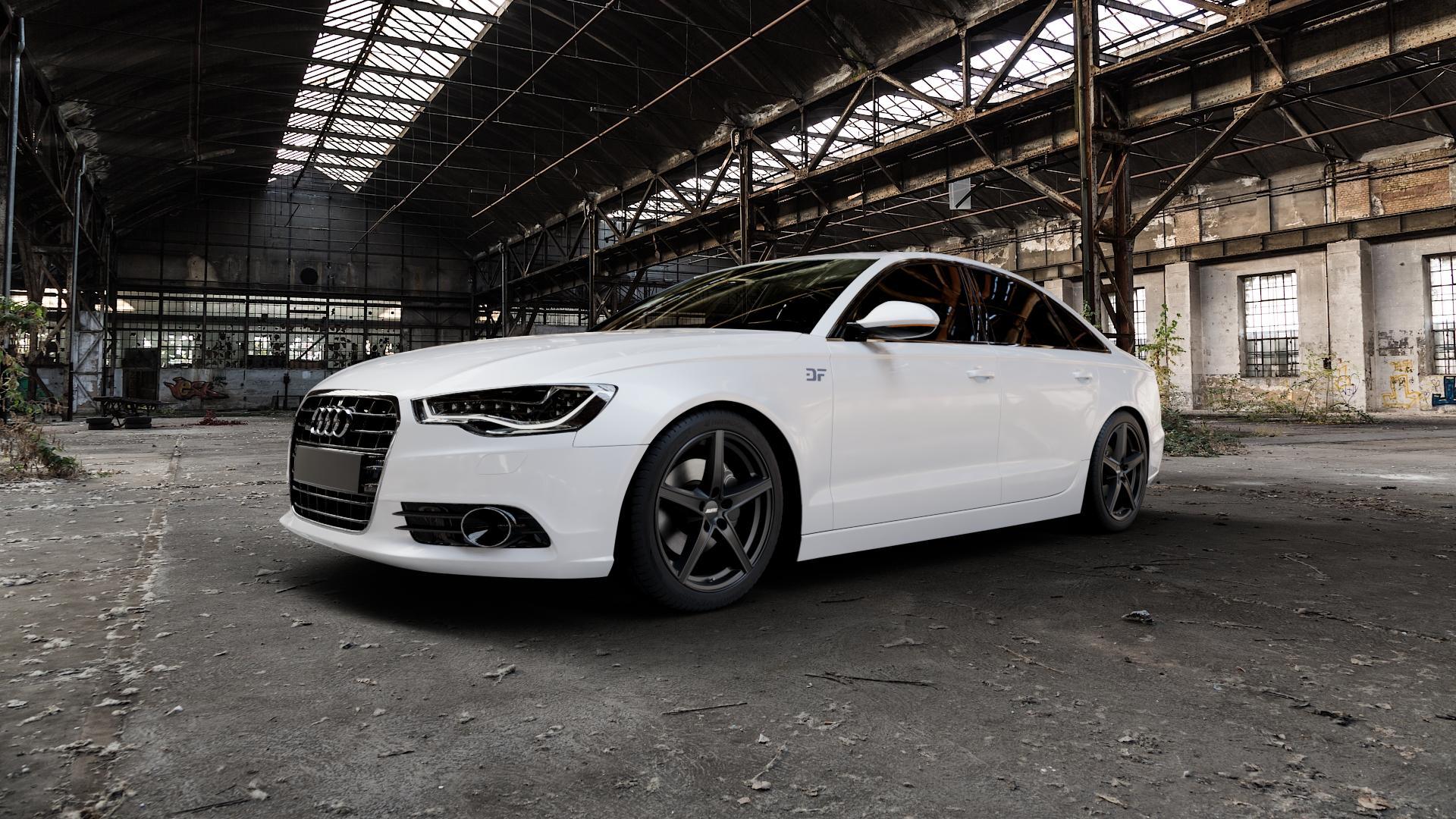 ALUTEC Raptr racing-schwarz Felge mit Reifen in 19Zoll Winterfelge Alufelge auf weissem Audi A6 Typ 4G/C7 (Limousine) ⬇️ mit 15mm Tieferlegung ⬇️ Industriehalle 1 Camera_000