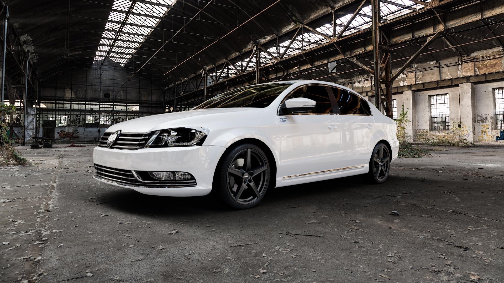 ALUTEC Raptr racing-schwarz Felge mit Reifen in 19Zoll Winterfelge Alufelge auf weissem Volkswagen (VW) Passat 3C/B7 Limousine ⬇️ mit 15mm Tieferlegung ⬇️ Industriehalle 1 Camera_000