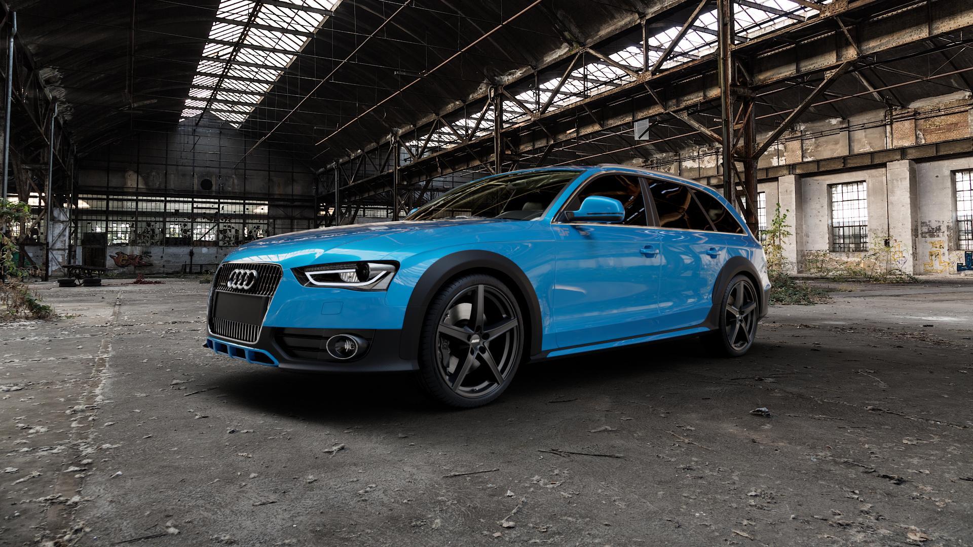 ALUTEC Raptr racing-schwarz Felge mit Reifen in 20Zoll Winterfelge Alufelge auf hellblau Audi A4 Typ 8KH/B8 Allroad ⬇️ mit 15mm Tieferlegung ⬇️ Industriehalle 1 Camera_000
