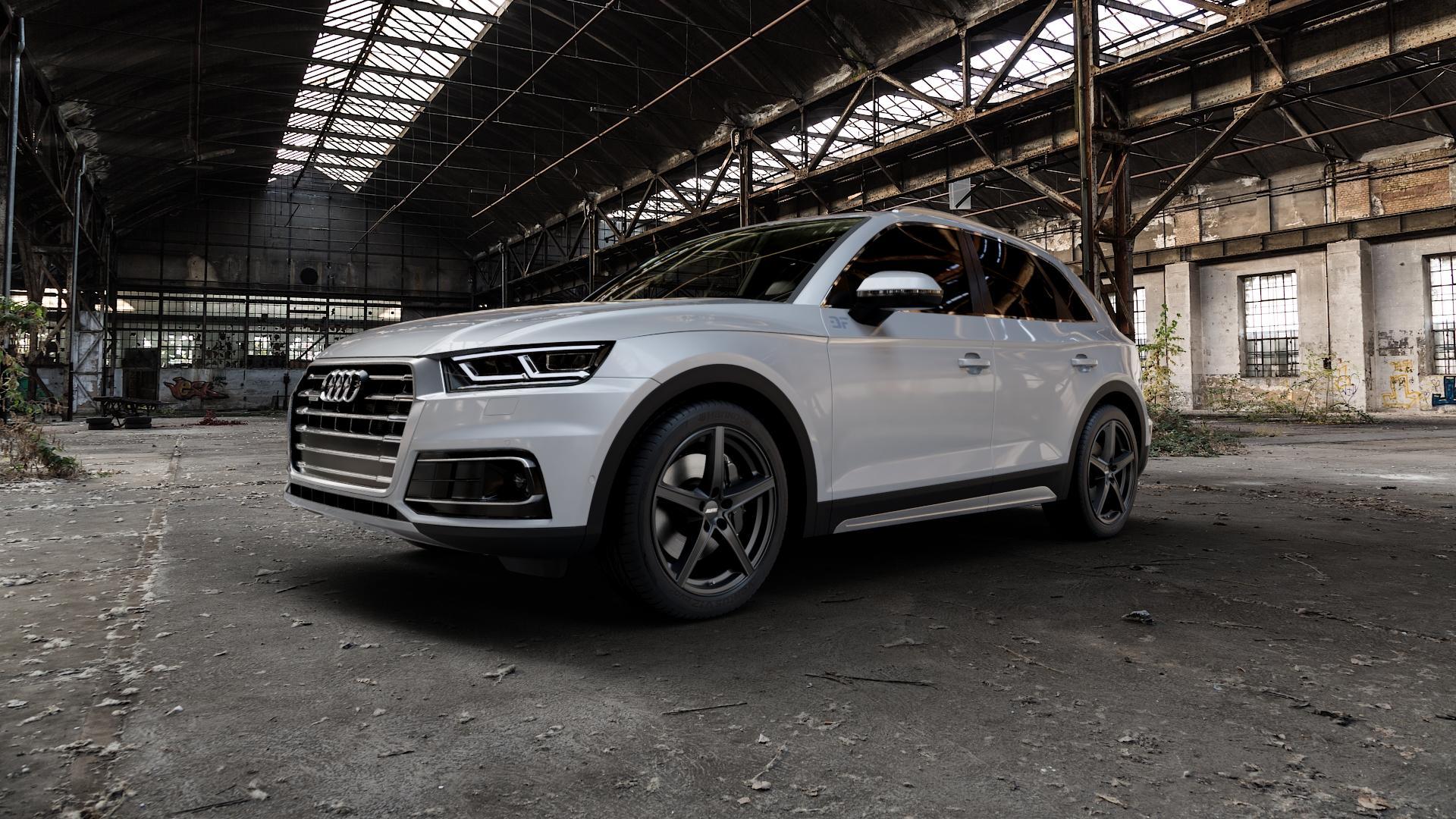 ALUTEC Raptr racing-schwarz Felge mit Reifen in 20Zoll Winterfelge Alufelge auf silbernem Audi Q5 II Typ FY ⬇️ mit 15mm Tieferlegung ⬇️ Industriehalle 1 Camera_000