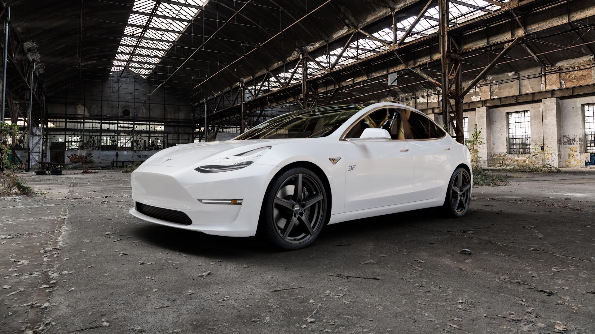 ALUTEC Raptr racing-schwarz Felge mit Reifen in 20Zoll Winterfelge Alufelge auf weissem Tesla Model 3 Typ 003 ⬇️ mit 15mm Tieferlegung ⬇️ Industriehalle 1 Camera_000