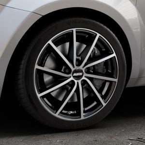 ALUTEC Singa diamant-schwarz frontpoliert Felge mit Reifen silber mehrfarbig in 17Zoll Alufelge auf silbernem Alfa Romeo Mito Typ 955 ⬇️ mit 15mm Tieferlegung ⬇️ Industriehalle 1 Thumbnail