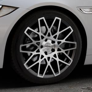 ASA GT4 schwarz glanz frontpoliert Felge mit Reifen silber mehrfarbig in 18Zoll Alufelge auf silbernem Jaguar XE Typ JA ⬇️ mit 15mm Tieferlegung ⬇️ Industriehalle 1 Thumbnail