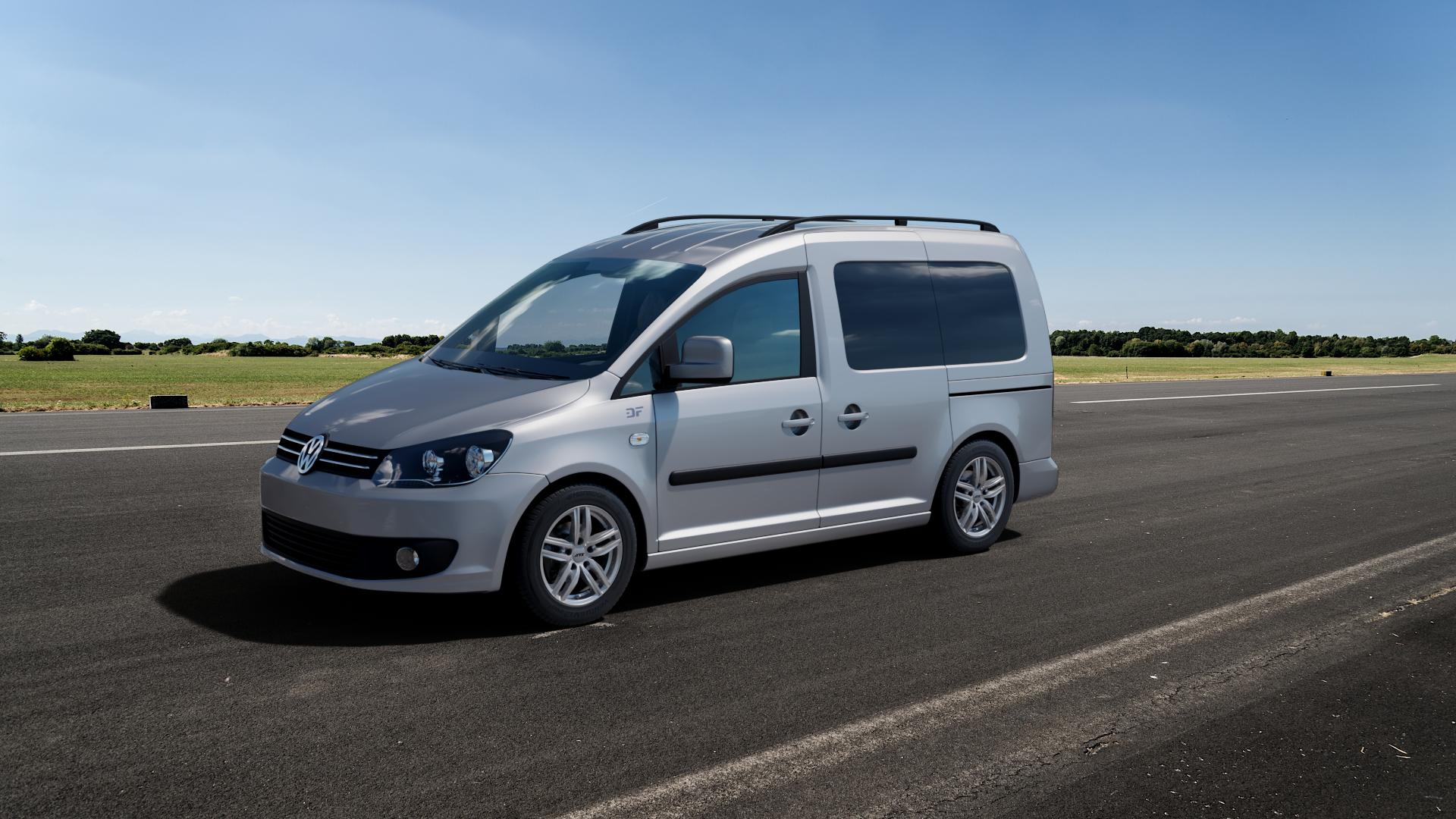 ATS Antares polar-silber Felge mit Reifen in 15Zoll Winterfelge Alufelge auf silbernem Volkswagen (VW) Caddy 3 ⬇️ mit 15mm Tieferlegung ⬇️ Big_Vehicle_Airstrip_1 Frontansicht_1