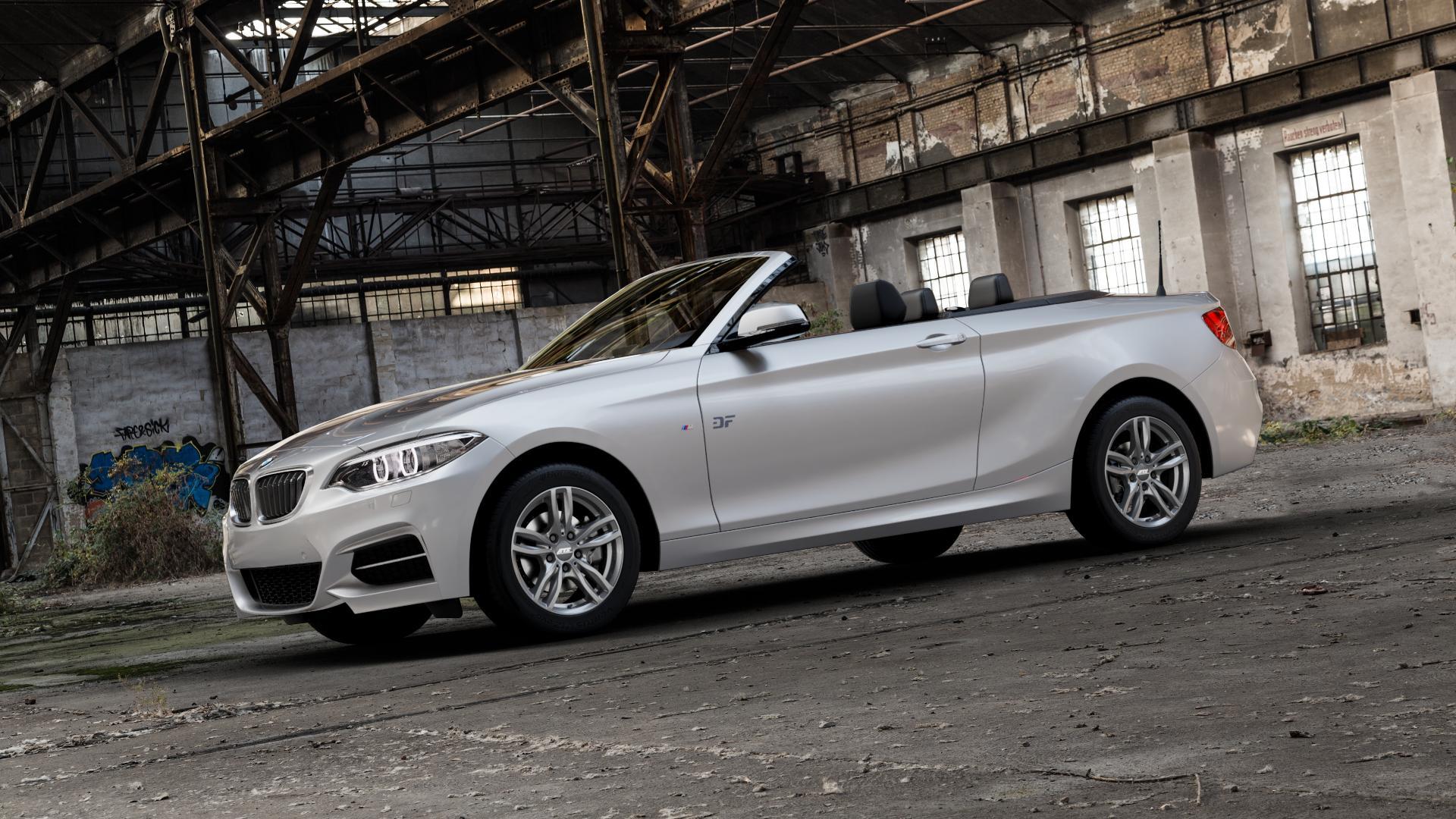 ATS Evolution dark-grey Felge mit Reifen grau in 16Zoll Winterfelge Alufelge auf silbernem BMW 220d Typ F23 (Cabrio) 2,0l 140kW (190 PS) 220i 135kW (184 228i 180kW (245 2 M235i 3,0l 240kW (326 218i 1,5l 100kW (136 xDrive 225d 165kW (224 218d 110kW (150 M240i 250kW (340 230i 185kW (252 120kW (163 151kW (205 ⬇️ mit 15mm Tieferlegung