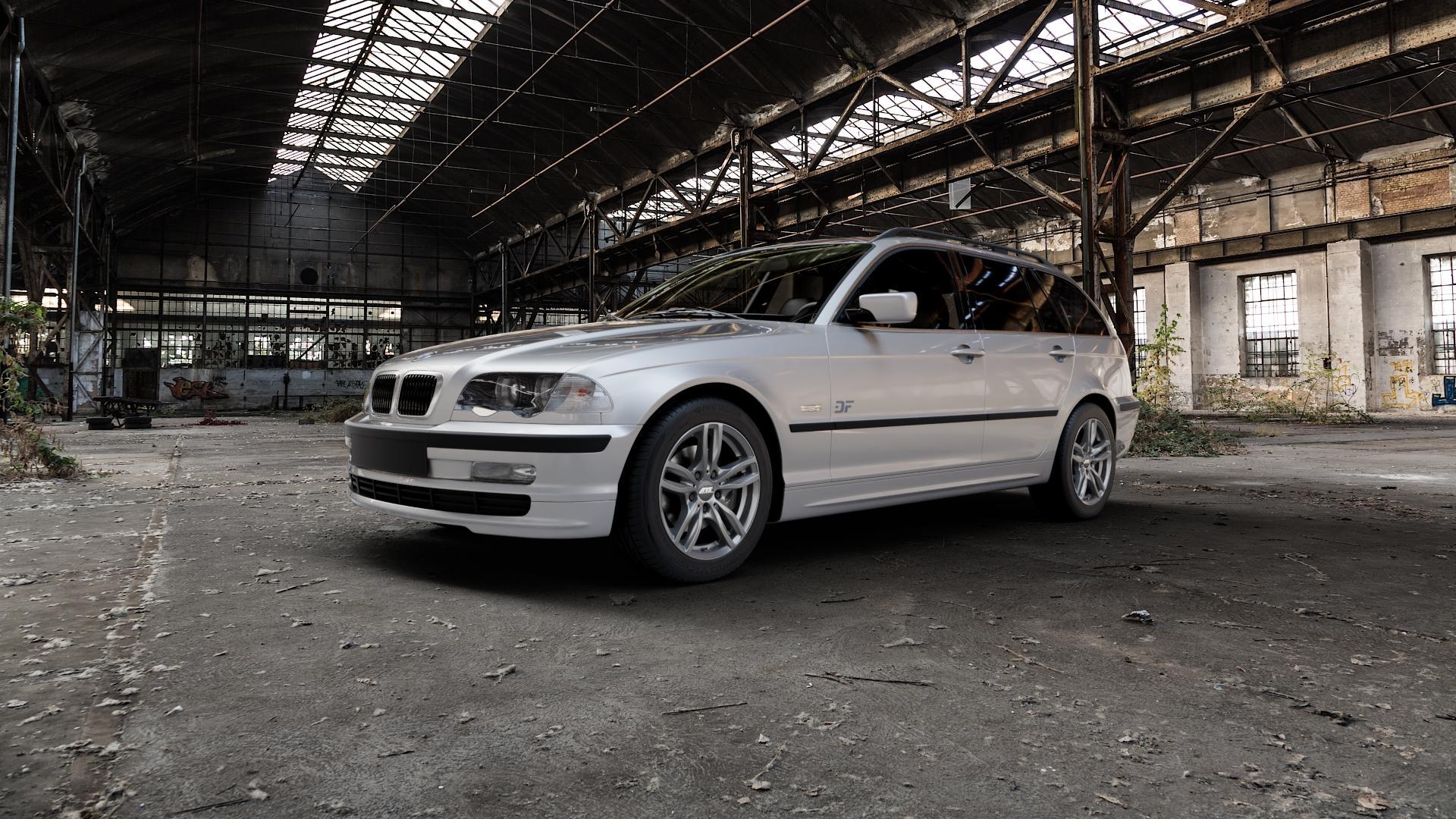 ATS Evolution dark-grey Felge mit Reifen grau in 16Zoll Winterfelge Alufelge auf silbernem BMW 316i Typ E46 (Touring) 318d 318i 320d 320i 325i 325xi 328i 330d 330i 330xd 330xi ⬇️ mit 15mm Tieferlegung ⬇️ Industriehalle 1 Camera_000