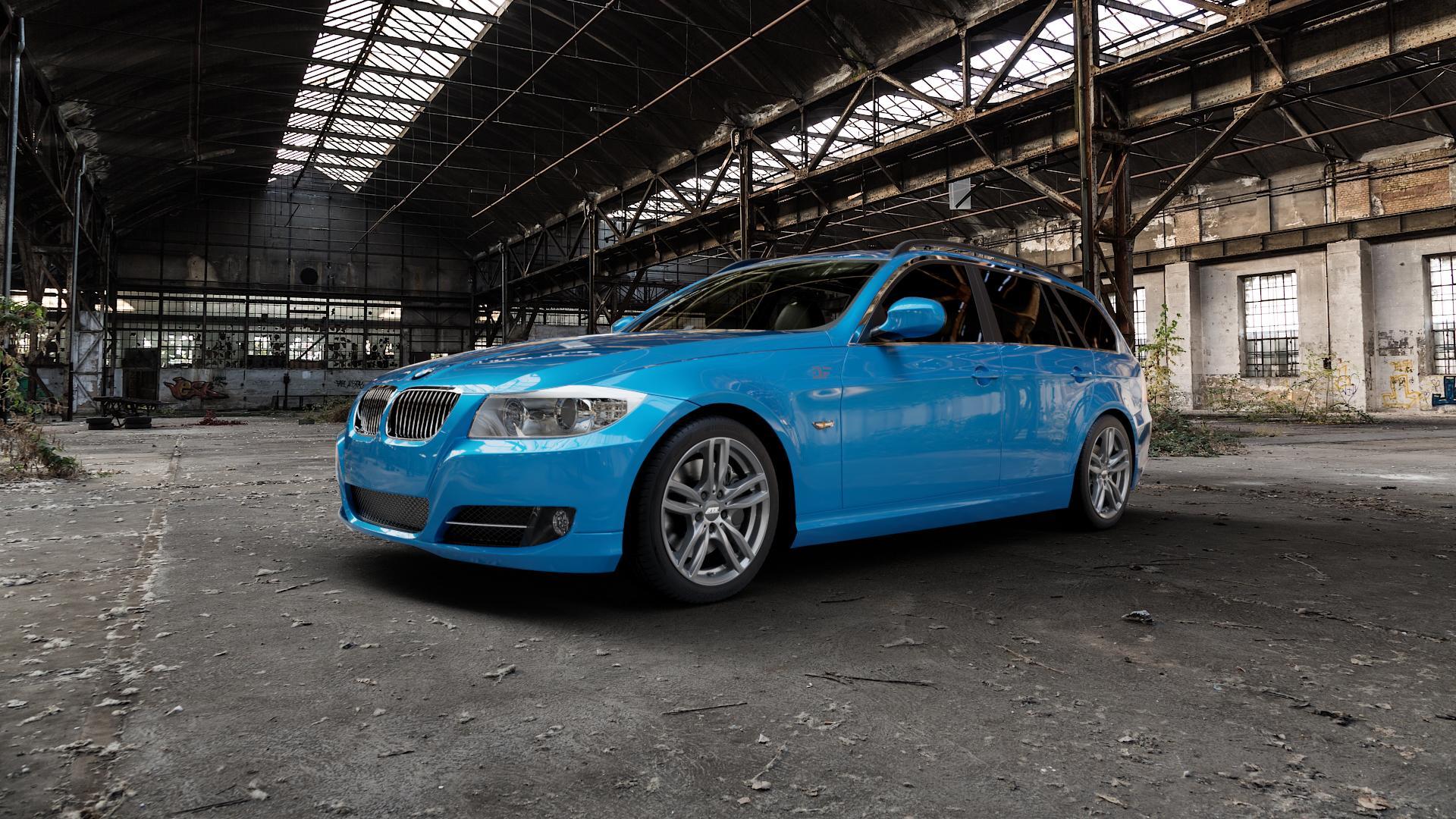ATS Evolution dark-grey Felge mit Reifen grau in 17Zoll Winterfelge Alufelge auf hellblau BMW 318i Typ E91 (Touring) 320i 325i 330i 320d 330d 318d 325xi 330xi 335i 335d 325d 330xd 335xi 320xd 316d 316i ⬇️ mit 15mm Tieferlegung ⬇️ Industriehalle 1 Camera_000