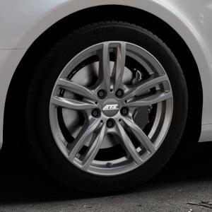 ATS Evolution dark-grey Felge mit Reifen grau in 17Zoll Winterfelge Alufelge auf silbernem Audi A4 Typ 8K2/B8 (Limousine) ⬇️ mit 15mm Tieferlegung ⬇️ Industriehalle 1 Thumbnail