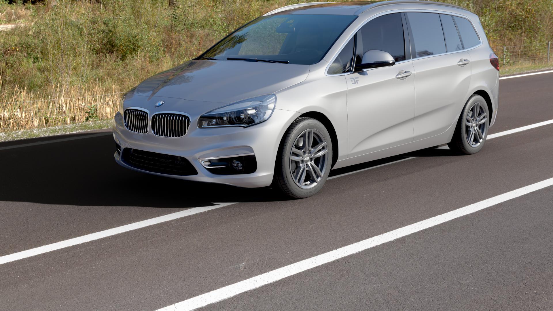 ATS Evolution dark-grey Felge mit Reifen grau in 17Zoll Winterfelge Alufelge auf silbernem BMW 218i Typ UKL-L (F46 Gran Tourer) 220i 216d 218d 220d xDrive 214d 216i F2GT ⬇️ mit 15mm Tieferlegung ⬇️ Autobahn_Herbst_1 Camera_000