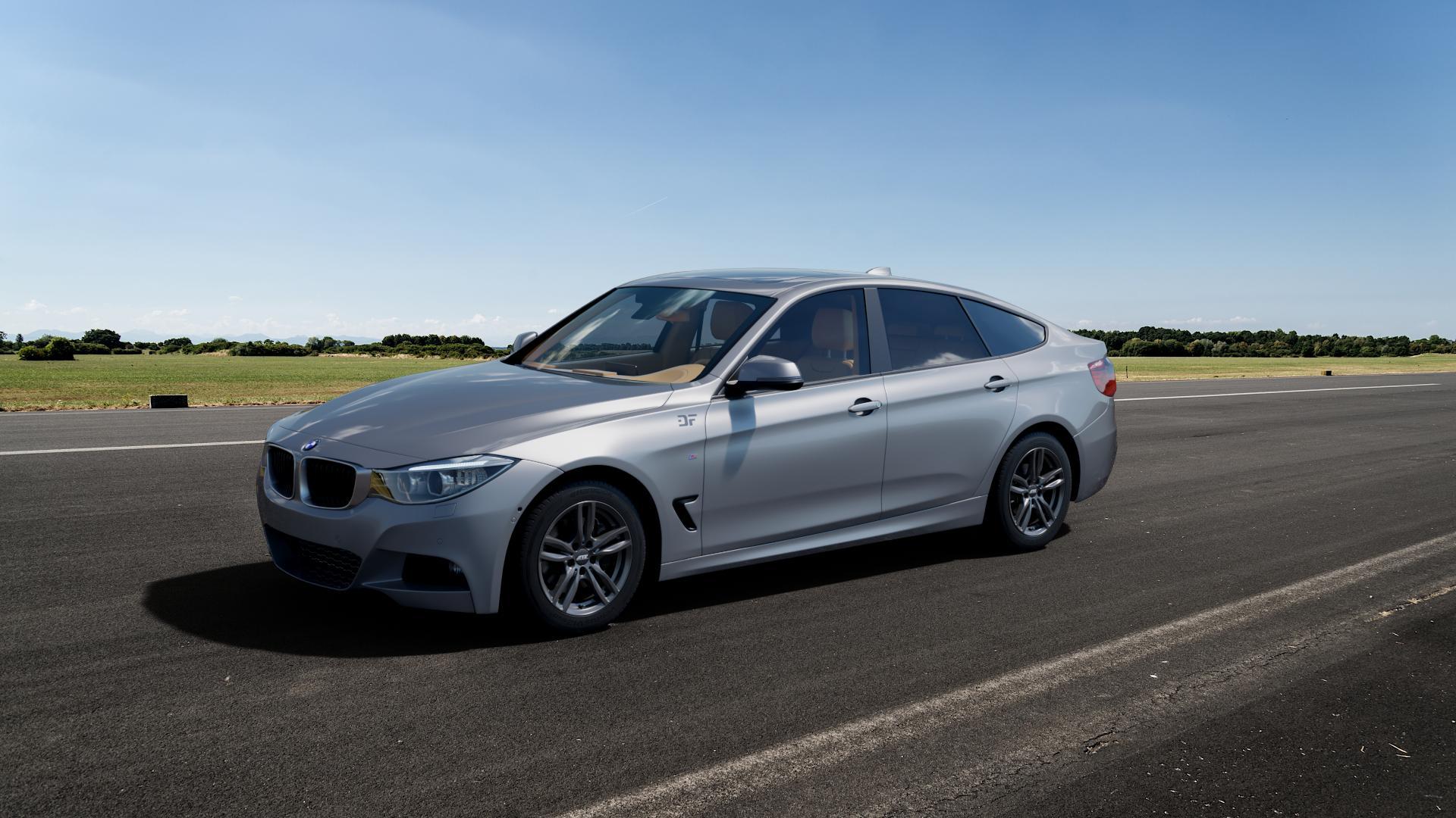ATS Evolution dark-grey Felge mit Reifen grau in 17Zoll Winterfelge Alufelge auf silbernem BMW 335i xDrive Typ F34 (Gran Turismo) ⬇️ mit 15mm Tieferlegung ⬇️ Big_Vehicle_Airstrip_1 Frontansicht_1