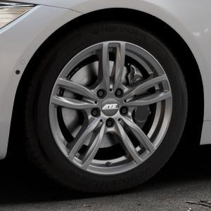 ATS Evolution dark-grey Felge mit Reifen grau in 17Zoll Winterfelge Alufelge auf silbernem BMW 418d Typ F36 (Gran Coupe) 420d xDrive 420i 428i 435i 430d 440i 418i 430i 425d ⬇️ mit 15mm Tieferlegung ⬇️ Industriehalle 1 Thumbnail