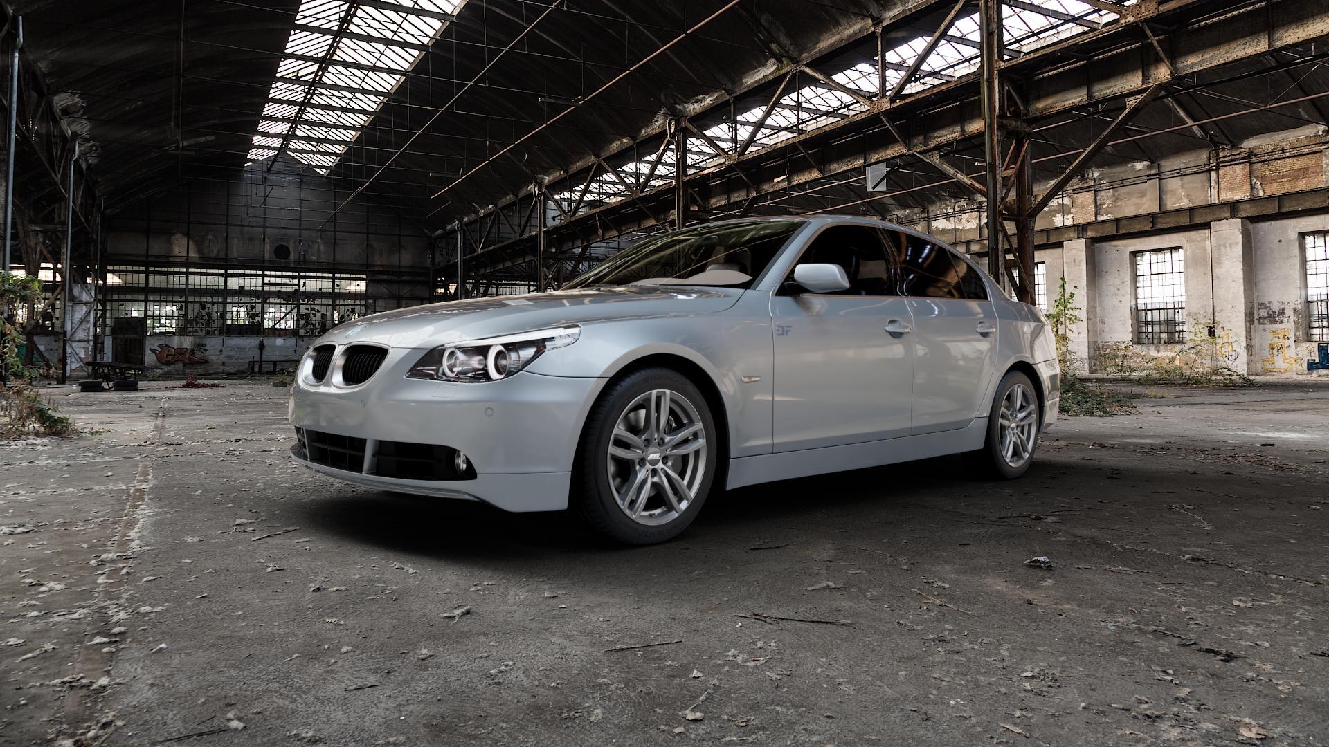 ATS Evolution dark-grey Felge mit Reifen grau in 17Zoll Winterfelge Alufelge auf silbernem BMW 520i Typ E60 (Limousine) 525i 530i 530d 525d 535d 545i 523i 540i 550i 520d 525xd 530xd 530xi 525xi ⬇️ mit 15mm Tieferlegung ⬇️ Industriehalle 1 Camera_000