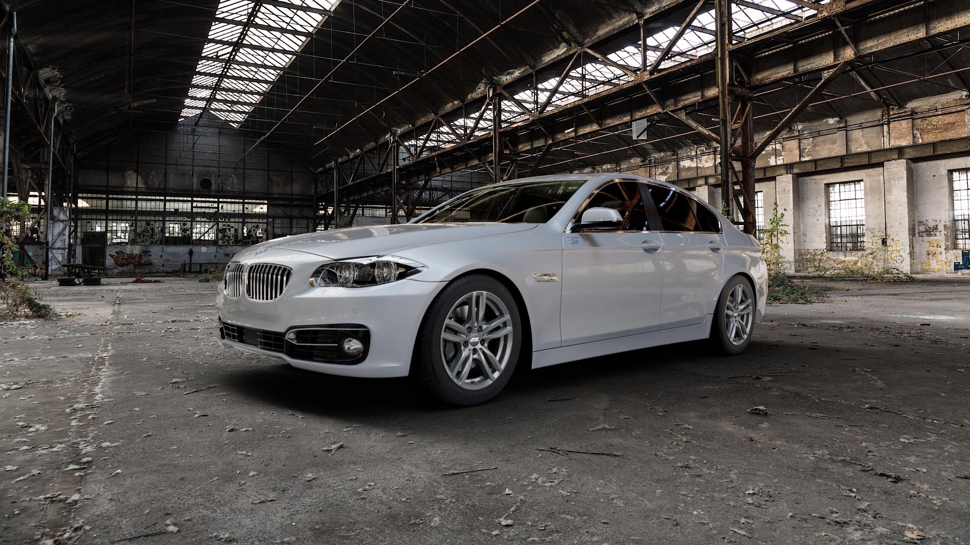 ATS Evolution dark-grey Felge mit Reifen grau in 17Zoll Winterfelge Alufelge auf silbernem BMW 523i Typ F10 (Limousine) 528i 535i 550i 520d 525d 530d 535d xDrive 520i 530i M5 M550d 518d ActiveHybrid ⬇️ mit 15mm Tieferlegung ⬇️ Industriehalle 1 Camera_000